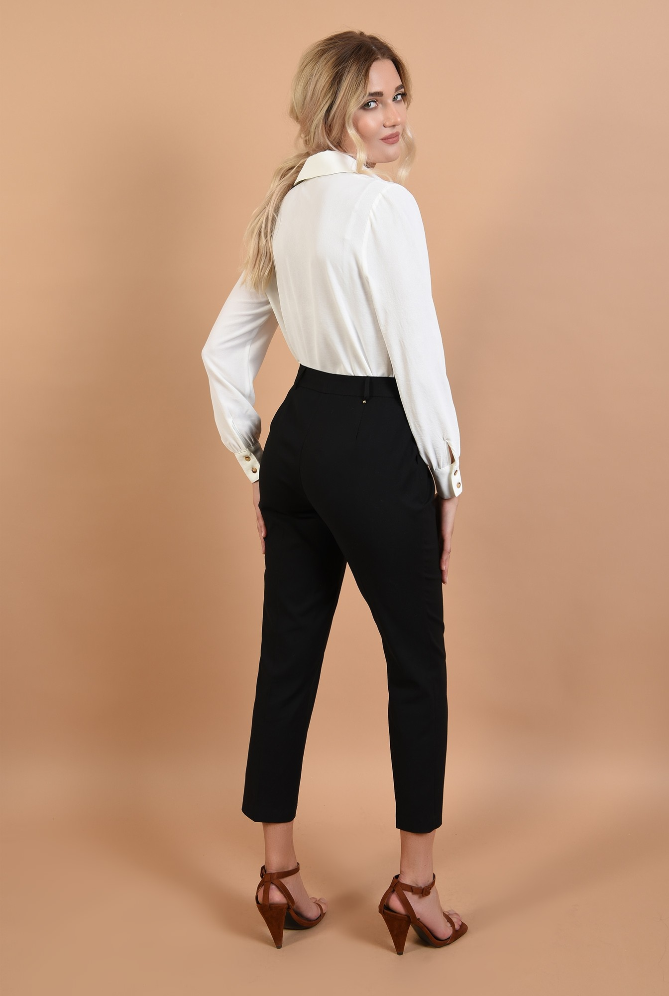 1 - 360 - pantaloni negri, casual, din bumbac, Poema, office, talie inalta