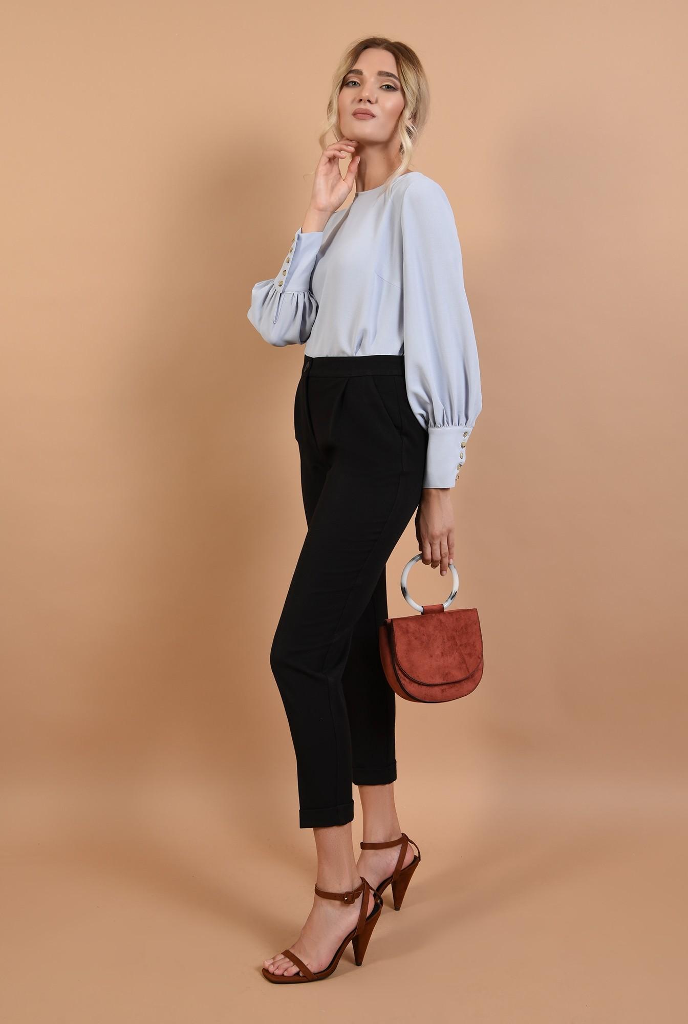 3 - 360 - pantaloni casual, negri, cu mansete, talie inalta
