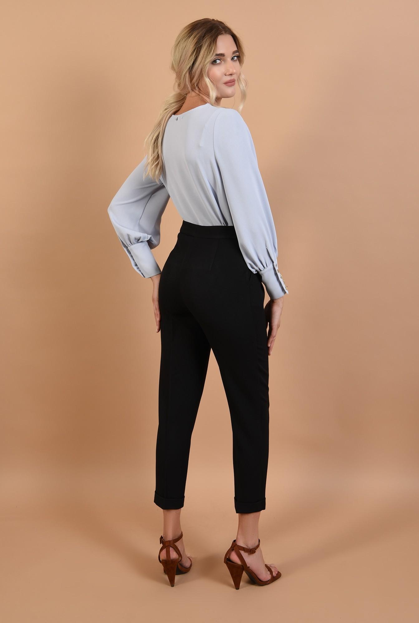 1 - 360 - pantaloni casual, negri, cu mansete, talie inalta