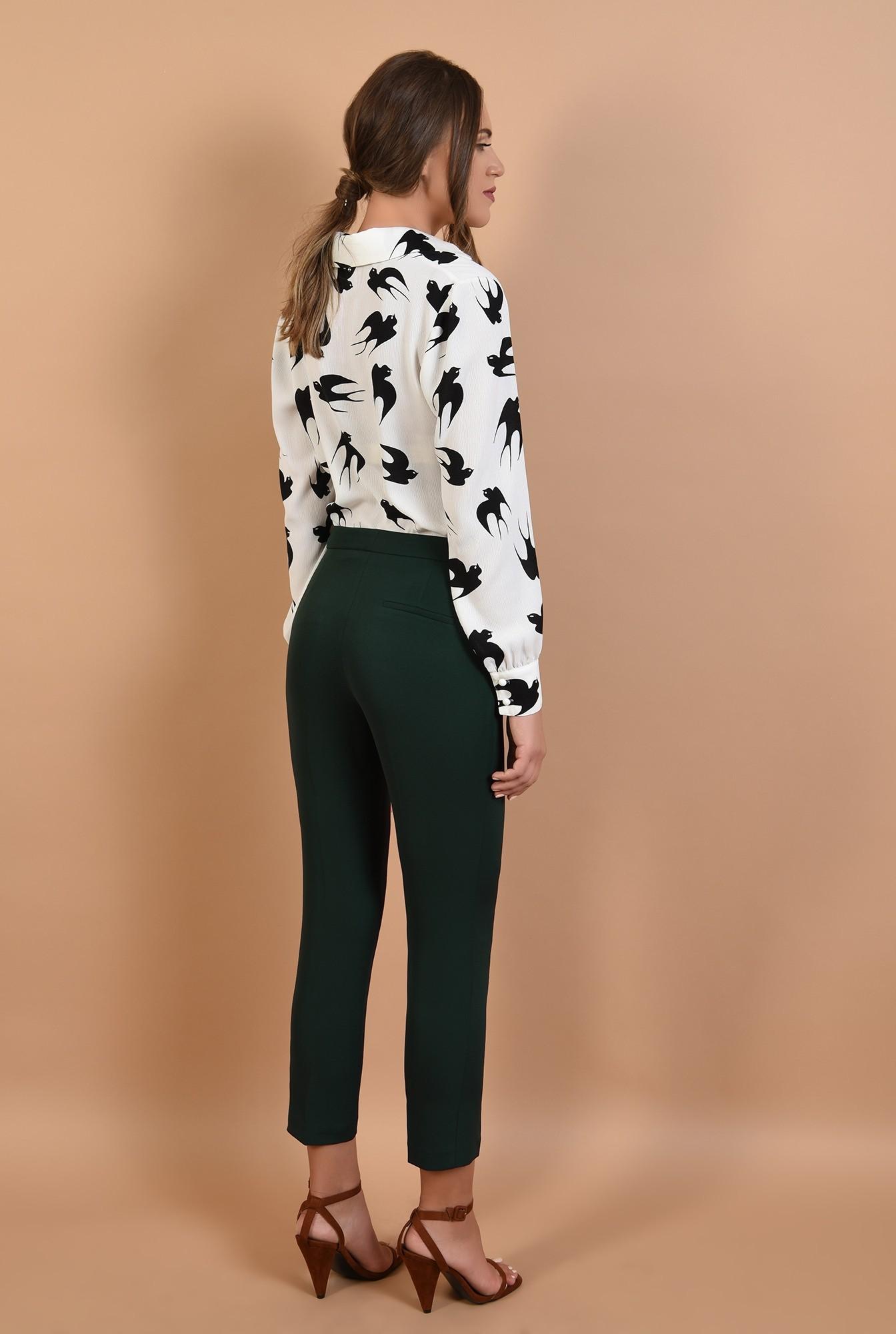 1 - pantaloni de birou, Poema, verzi, talie inalta, cu buzunare