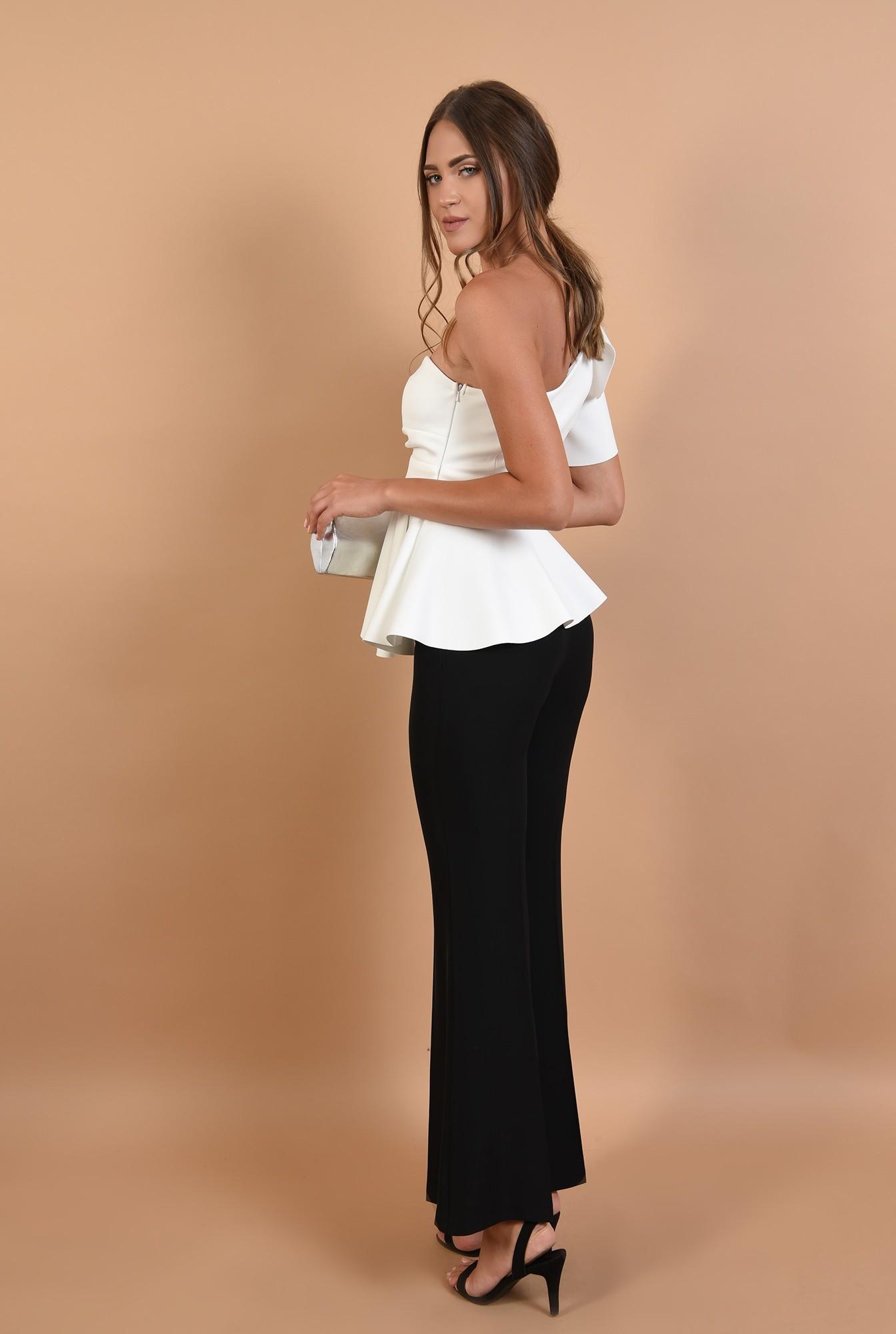 1 - 360 - pantaloni de ocazie, negri, lungi, croi evazat, la dunga