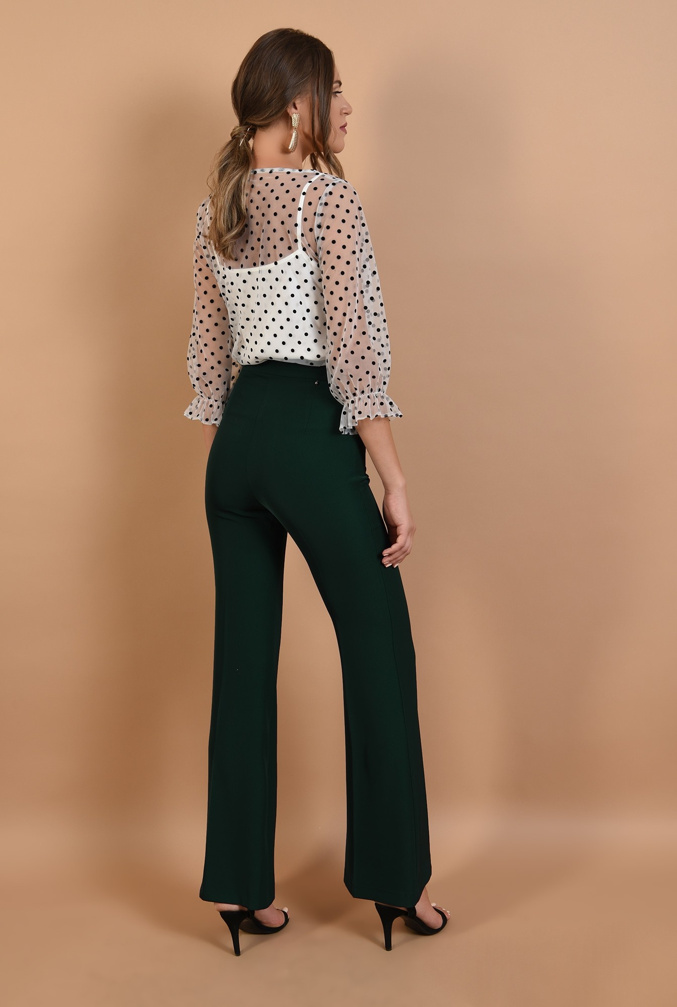 1 - 360 - pantaloni evazati, lungi, croi la dunga, verde inchis, Poema