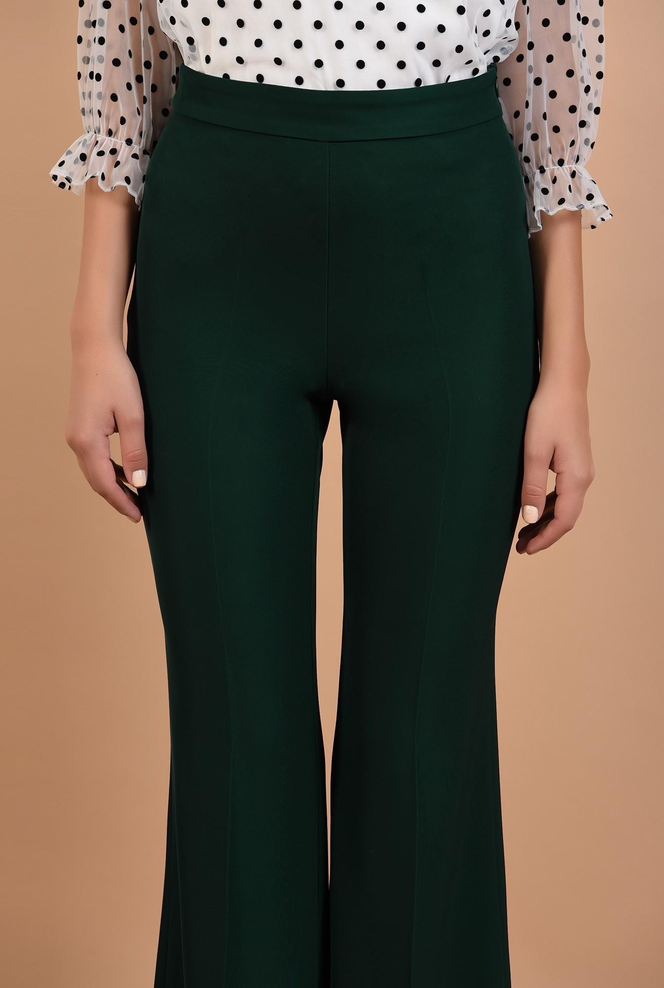 2 - 360 - pantaloni evazati, lungi, croi la dunga, verde inchis, Poema