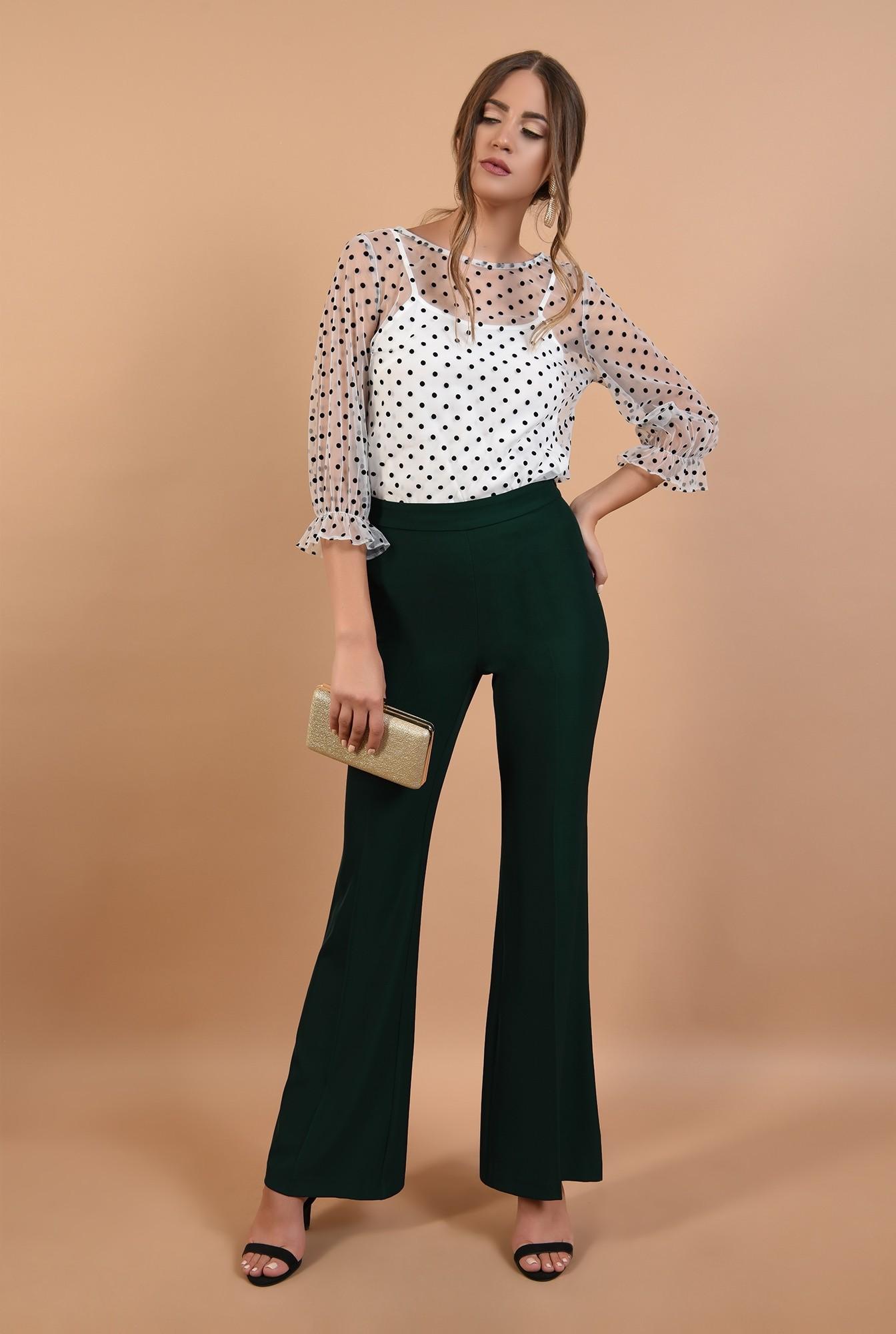 3 - 360 - pantaloni evazati, lungi, croi la dunga, verde inchis, Poema