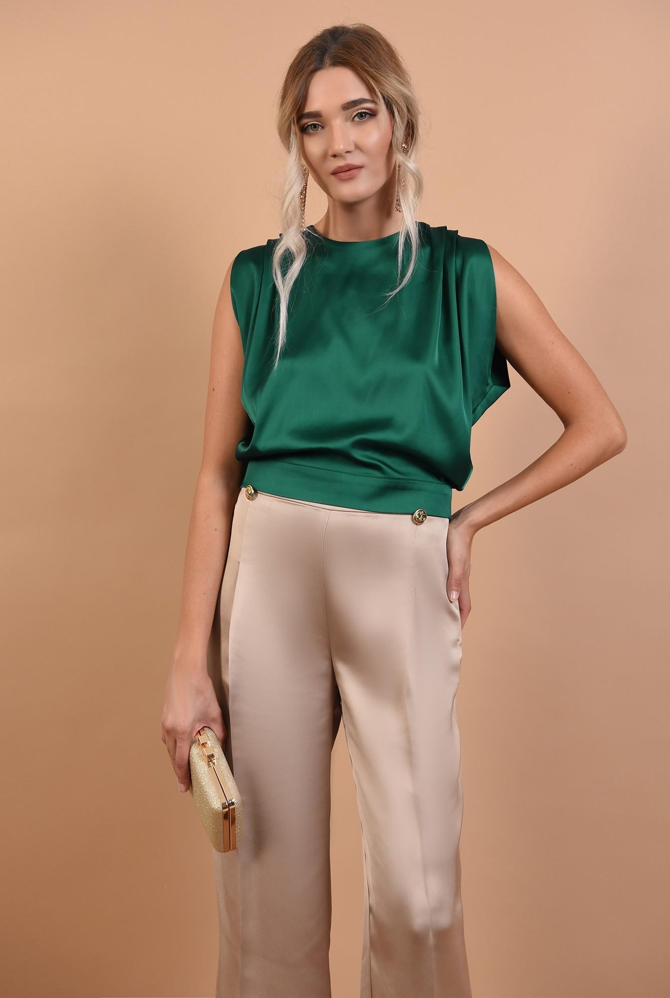 0 - pantaloni de ocazie, cu talie inalta, din satin, nasturi decorativi
