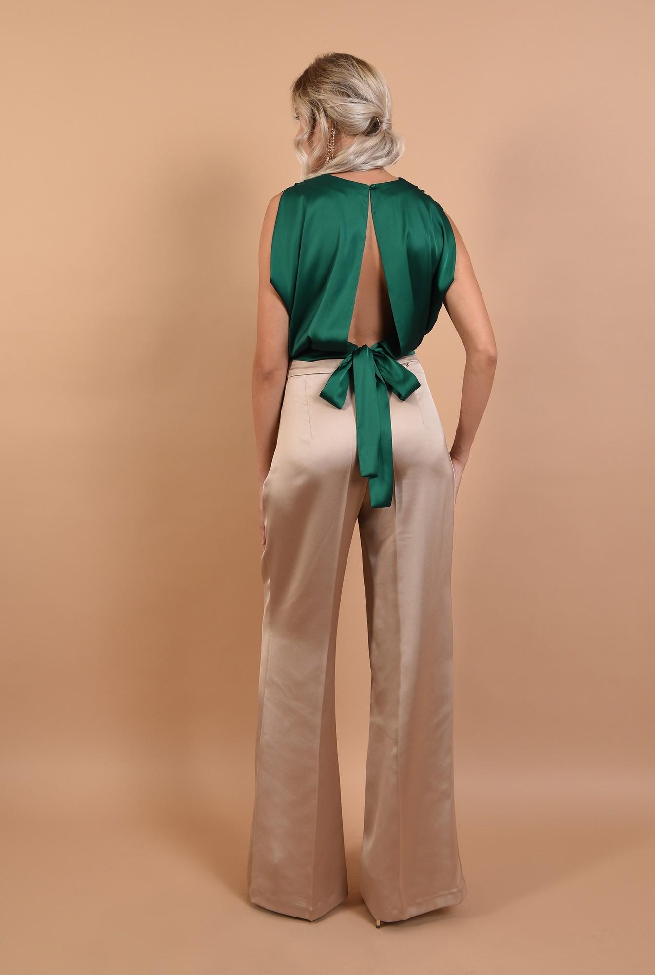 1 - pantaloni de ocazie, cu talie inalta, din satin, nasturi decorativi