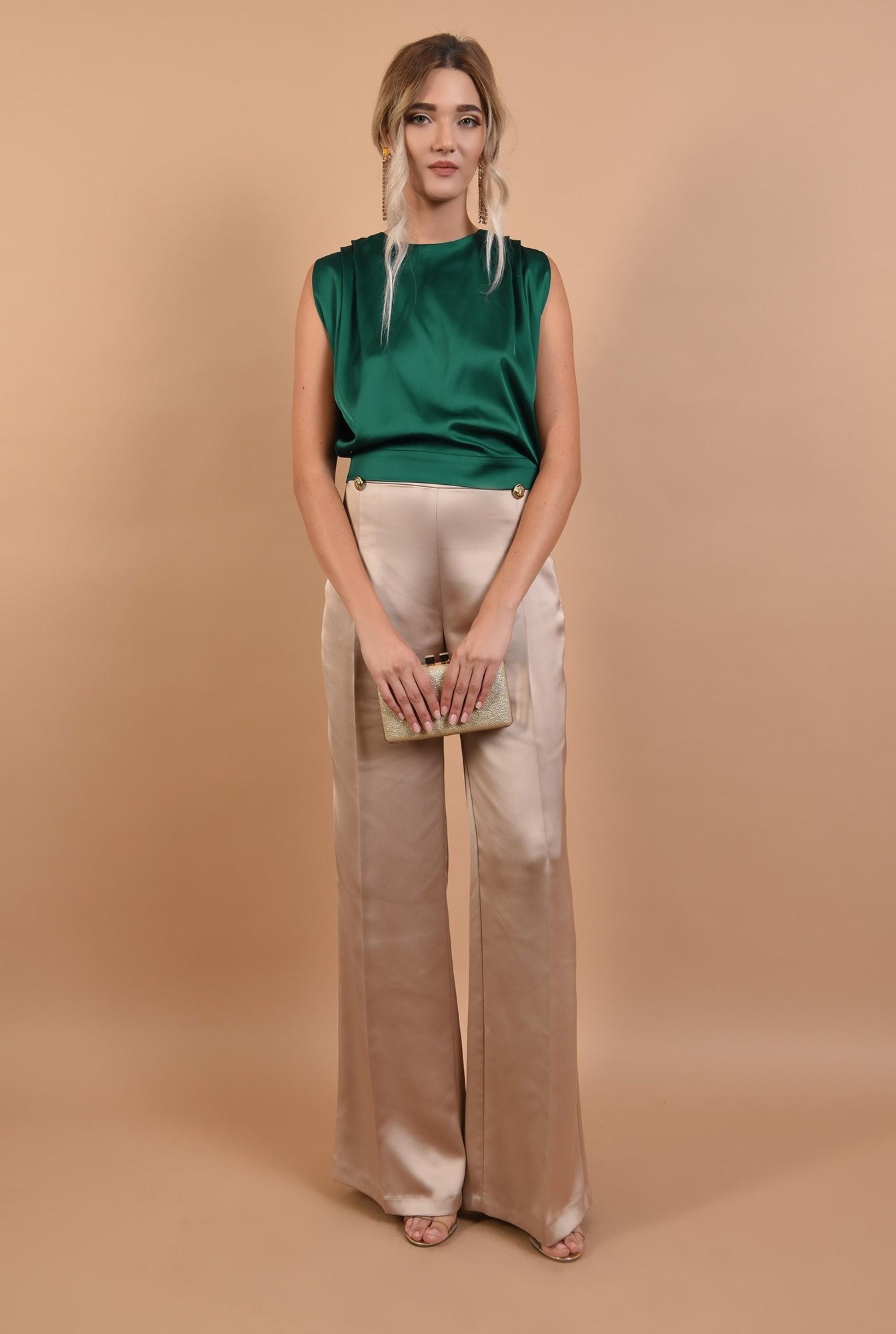 3 - pantaloni de ocazie, cu talie inalta, din satin, nasturi decorativi