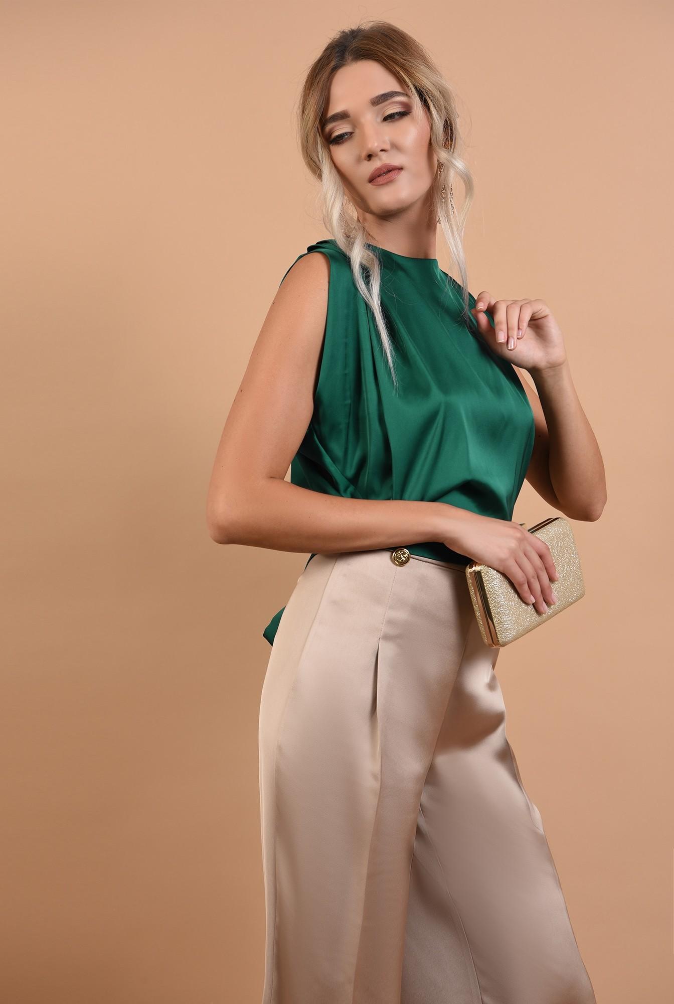 2 - pantaloni de ocazie, cu talie inalta, din satin, nasturi decorativi