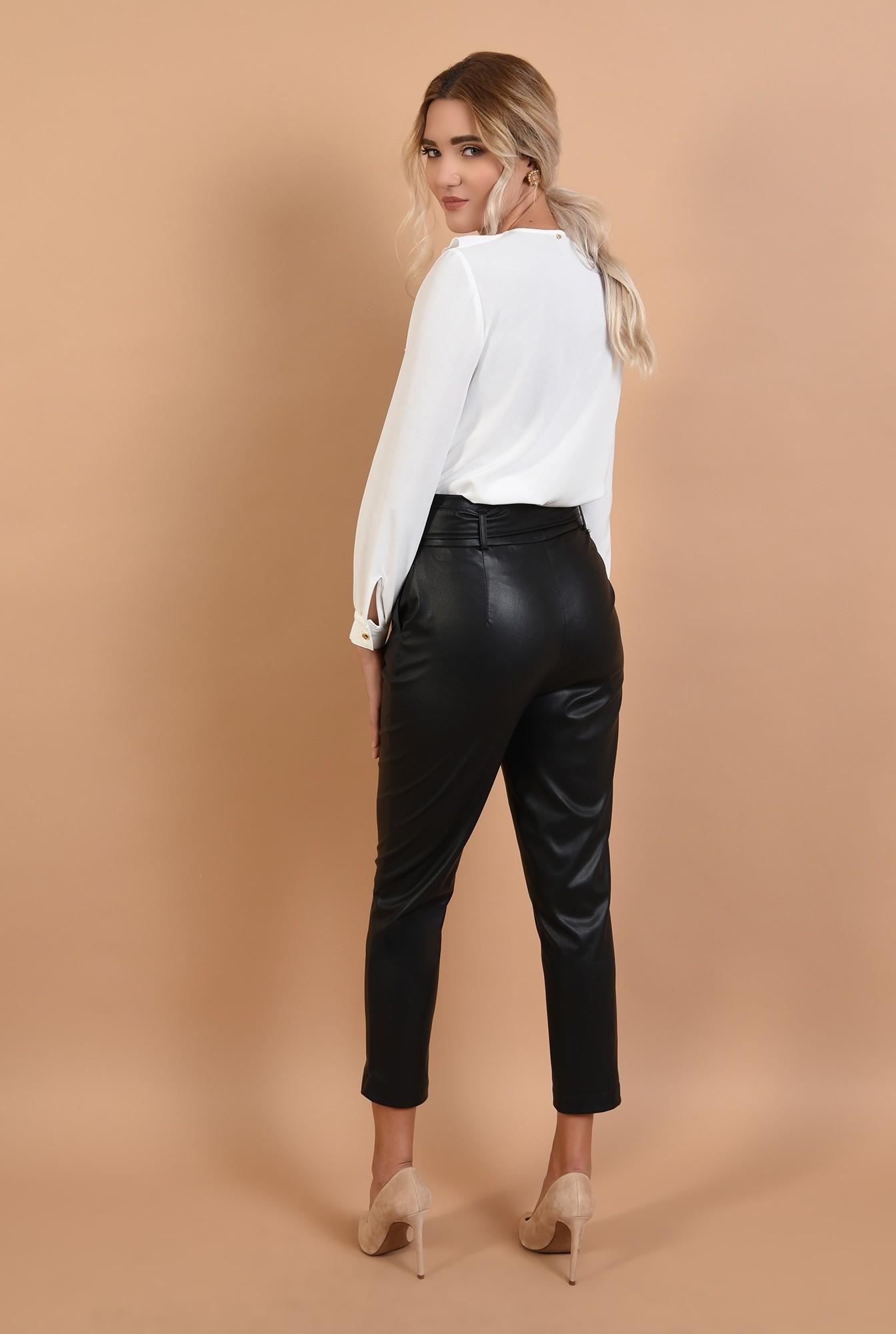 1 - 360 - pantaloni conici, din piele eco, cu betelie lata, cordon, Poema
