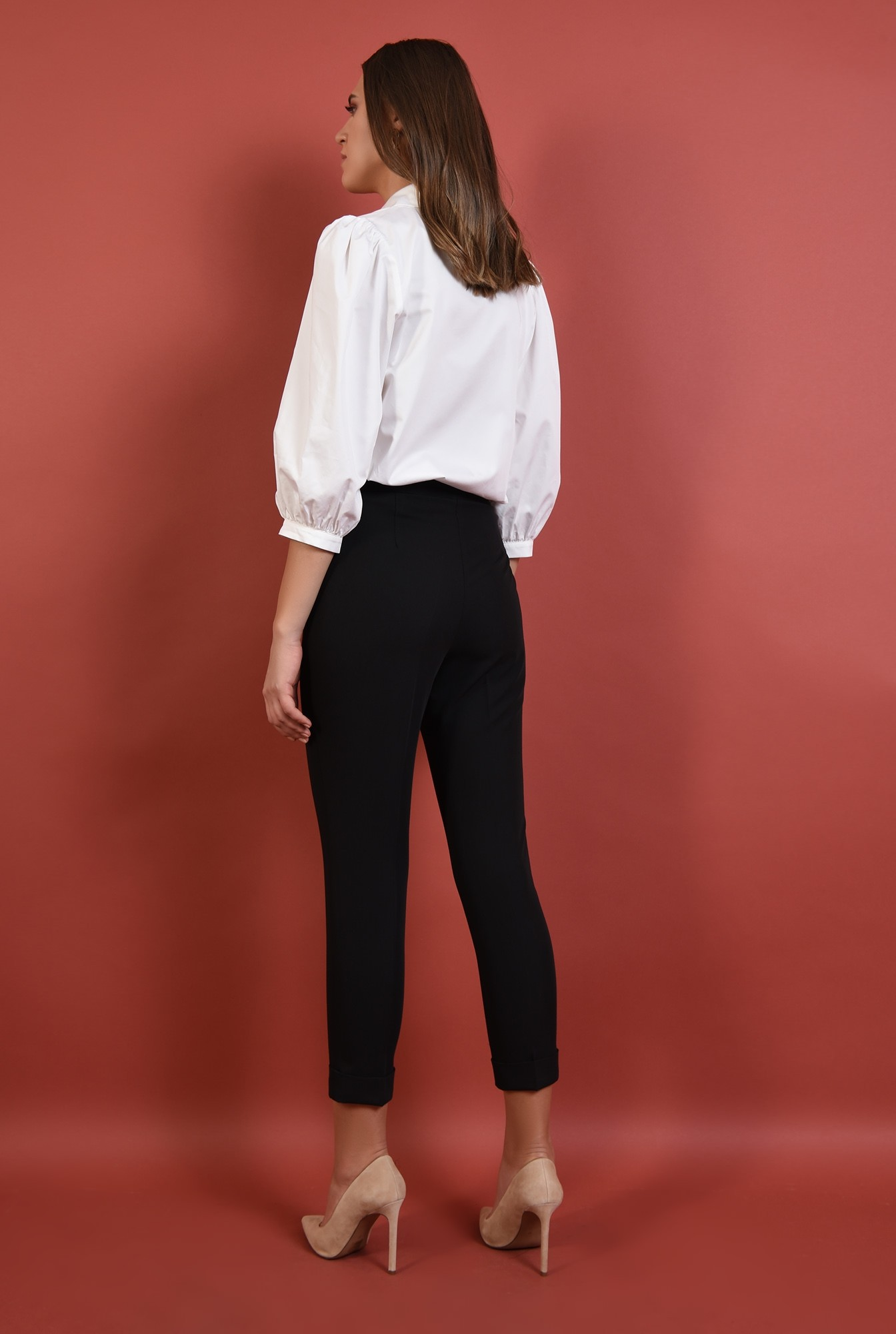 1 - 360 - pantaloni conici, negri, talie medie, croi la dunga