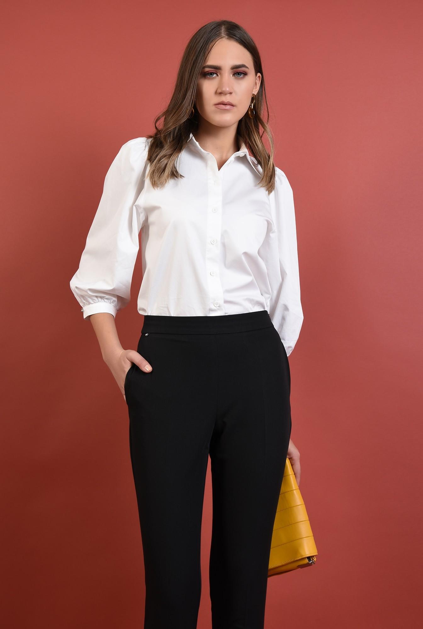 0 - 360 - pantaloni conici, negri, talie medie, croi la dunga