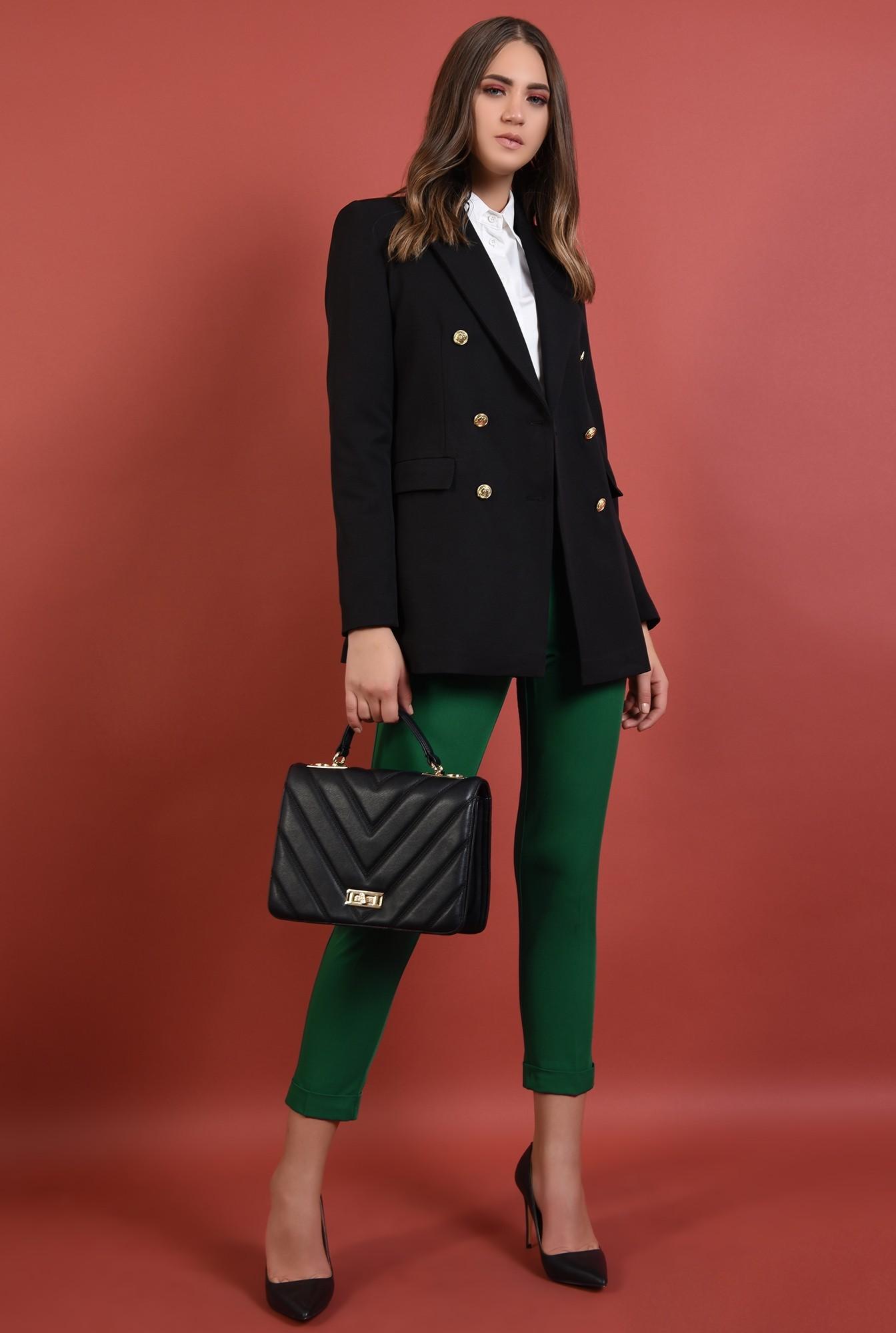 3 - pantaloni verzi, conici, cu buzunare, talie medie, cu mansete