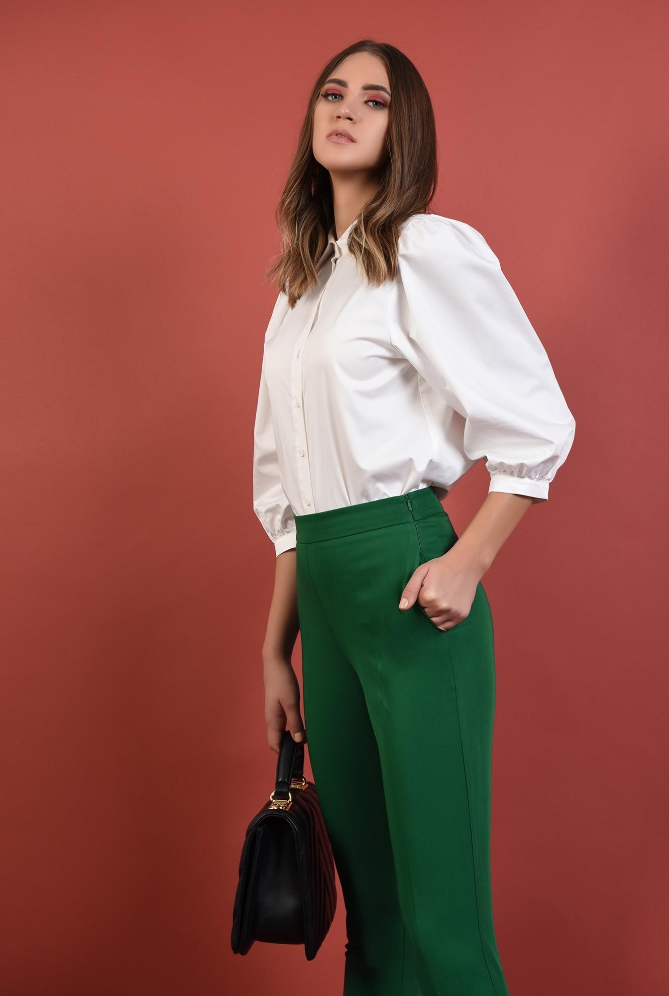 2 - pantaloni verzi, conici, cu buzunare, talie medie, cu mansete