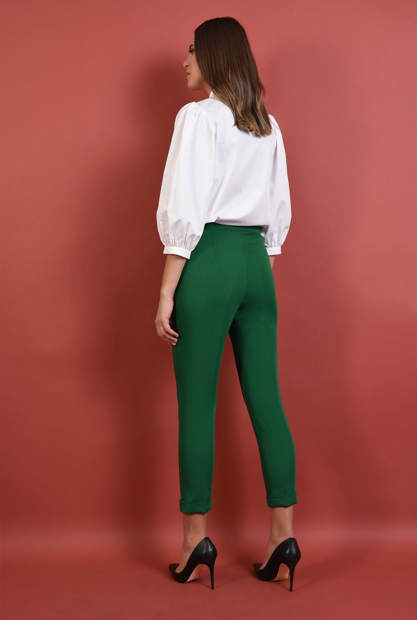 1 - pantaloni verzi, conici, cu buzunare, talie medie, cu mansete