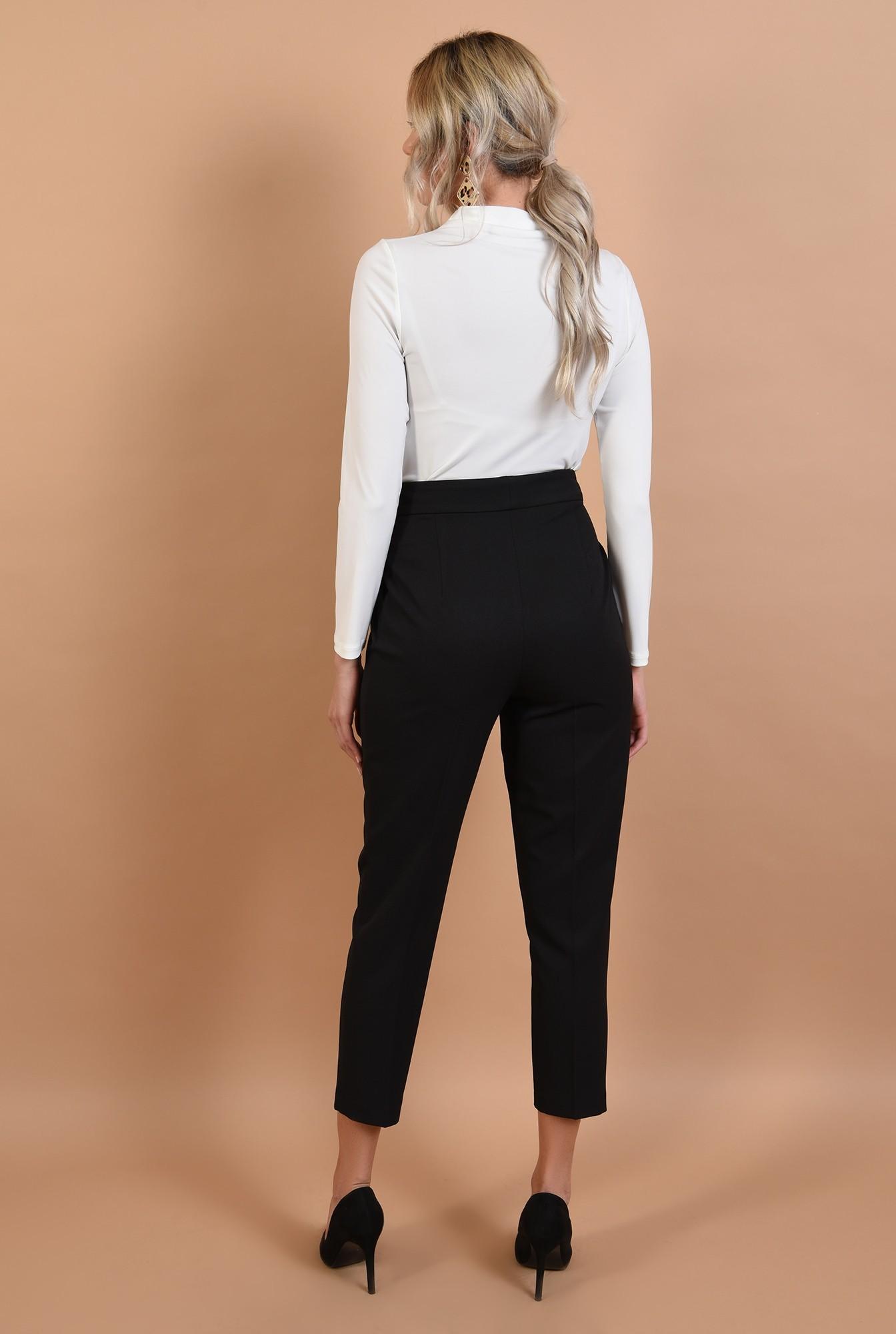 1 - pantaloni negri, conici, cu buzunare, talie inalta, cu pense, Poema