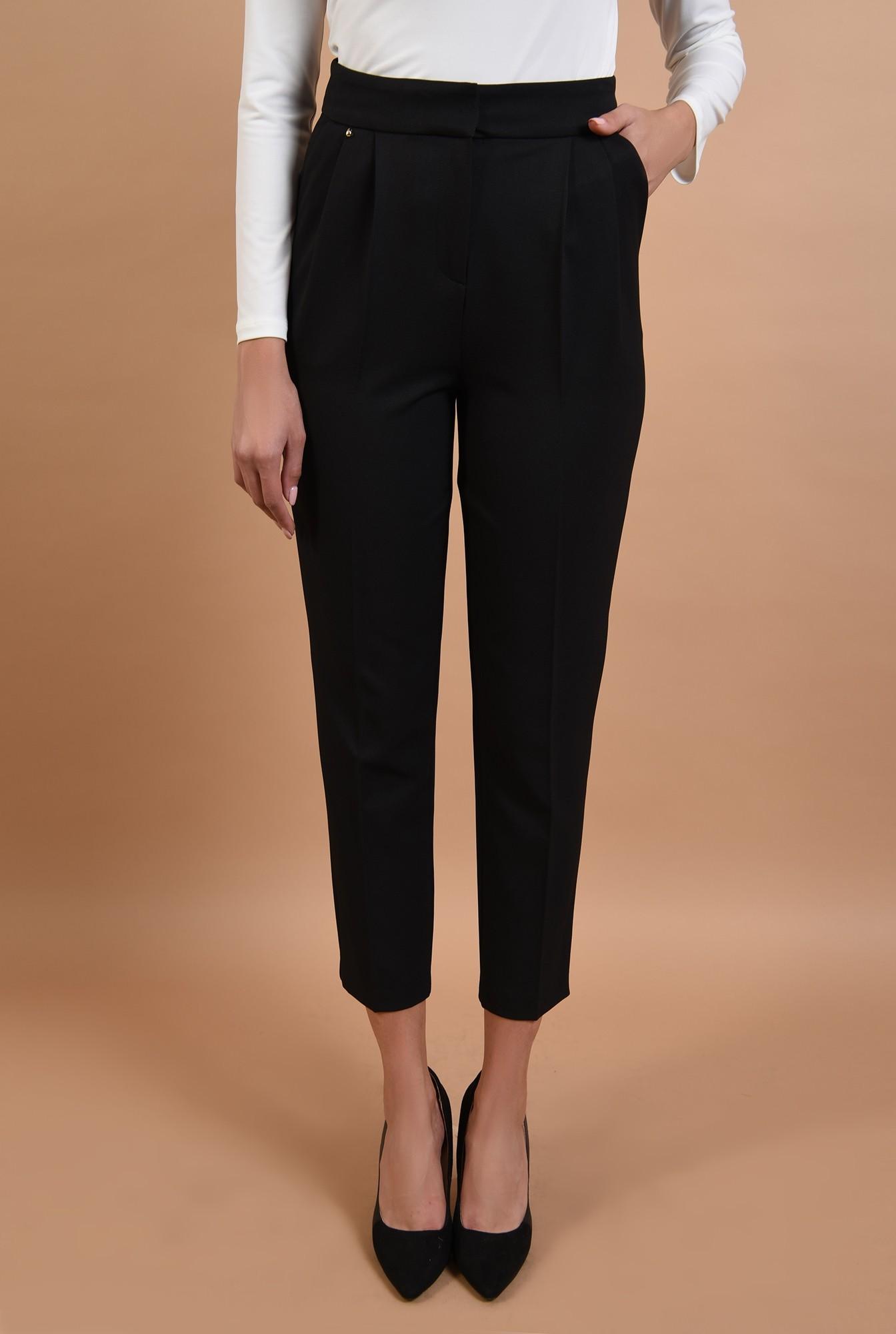 2 - pantaloni negri, conici, cu buzunare, talie inalta, cu pense, Poema