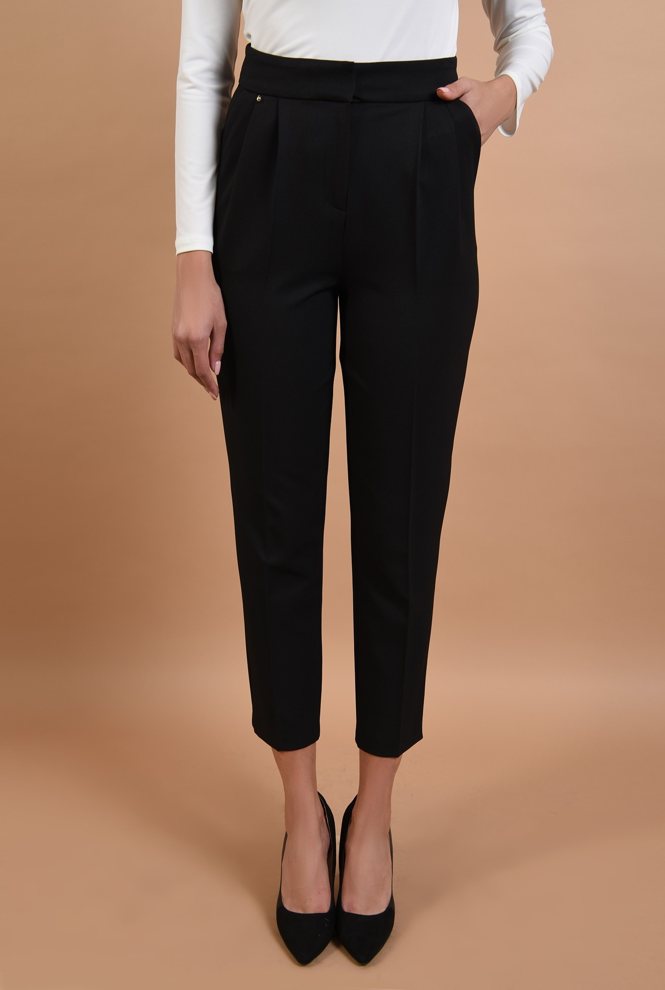 2 - 360 - pantaloni conici, negri, talie medie, croi la dunga