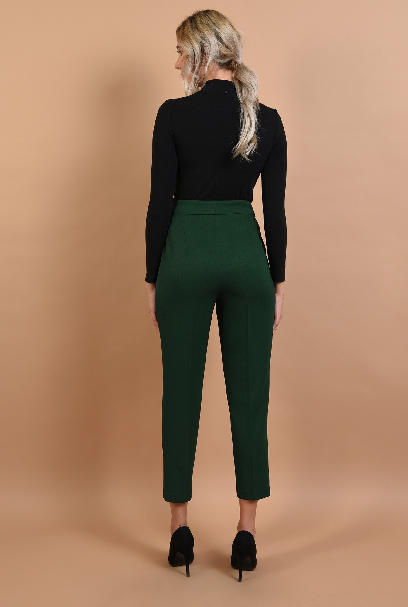 1 - 360 - pantaloni conici, verzi, talie medie, croi la dunga