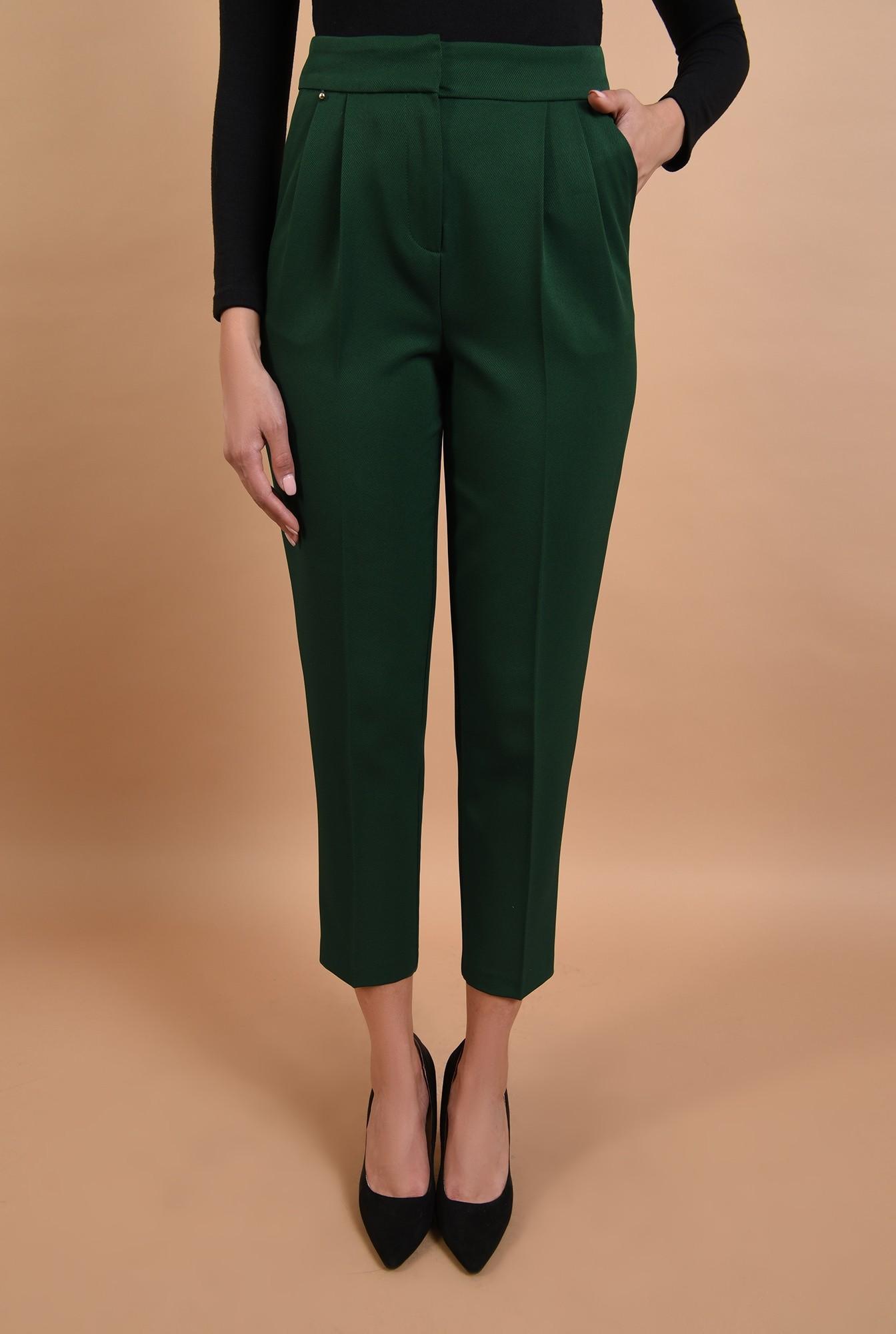 2 - 360 - pantaloni conici, verzi, talie medie, croi la dunga