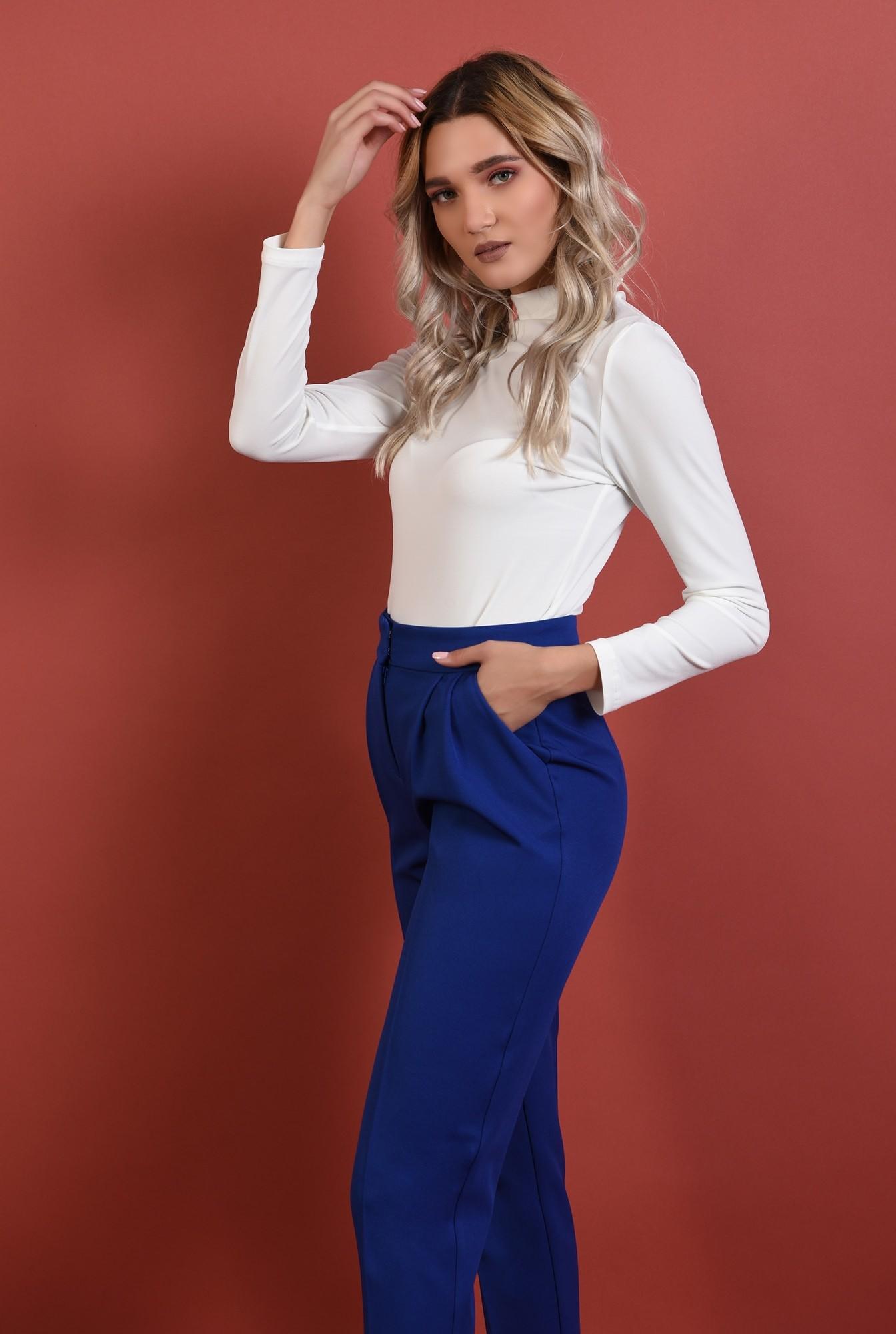 2 - 360 - pantaloni conici, albastri, talie medie, croi la dunga