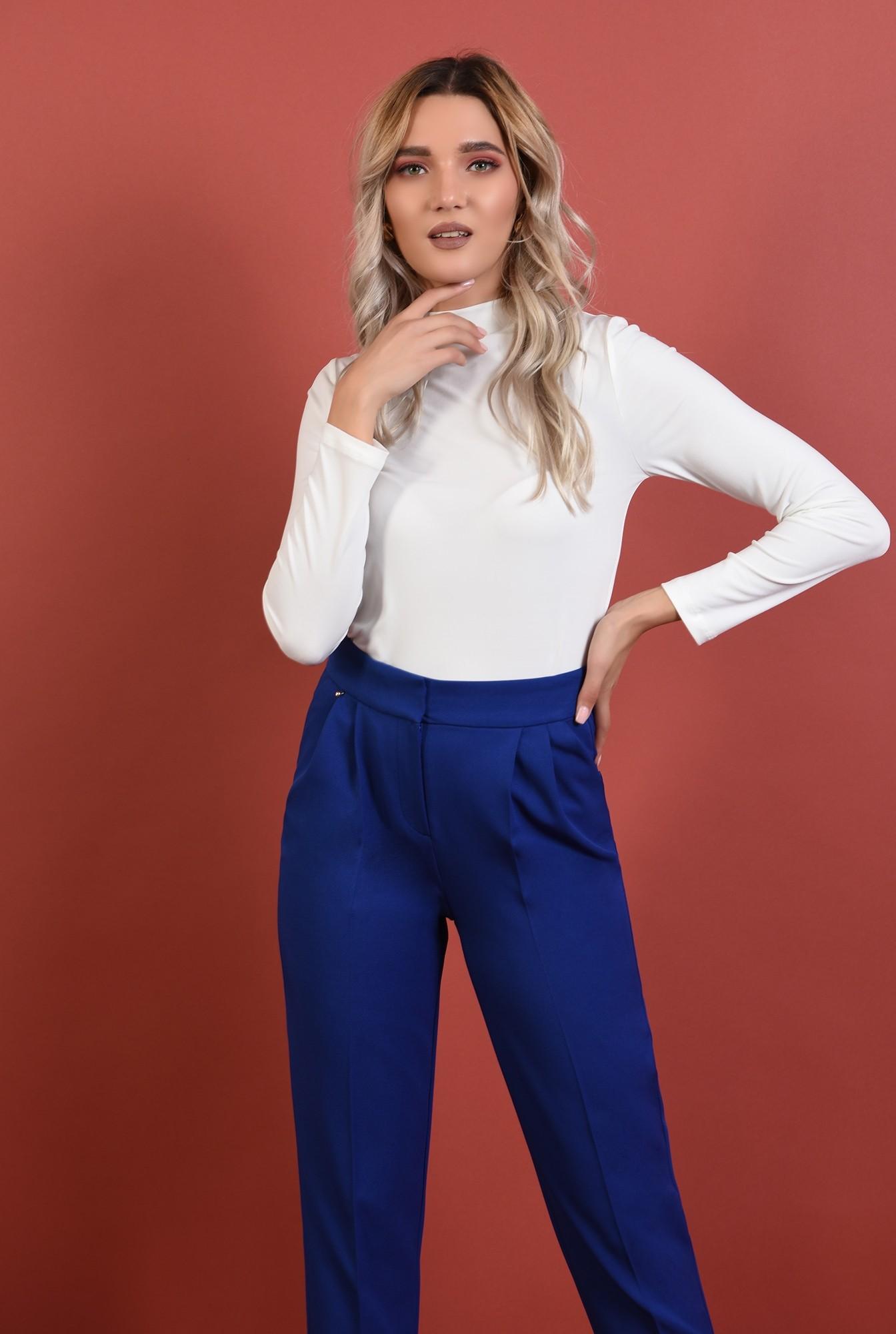 0 - 360 - pantaloni conici, albastri, talie medie, croi la dunga