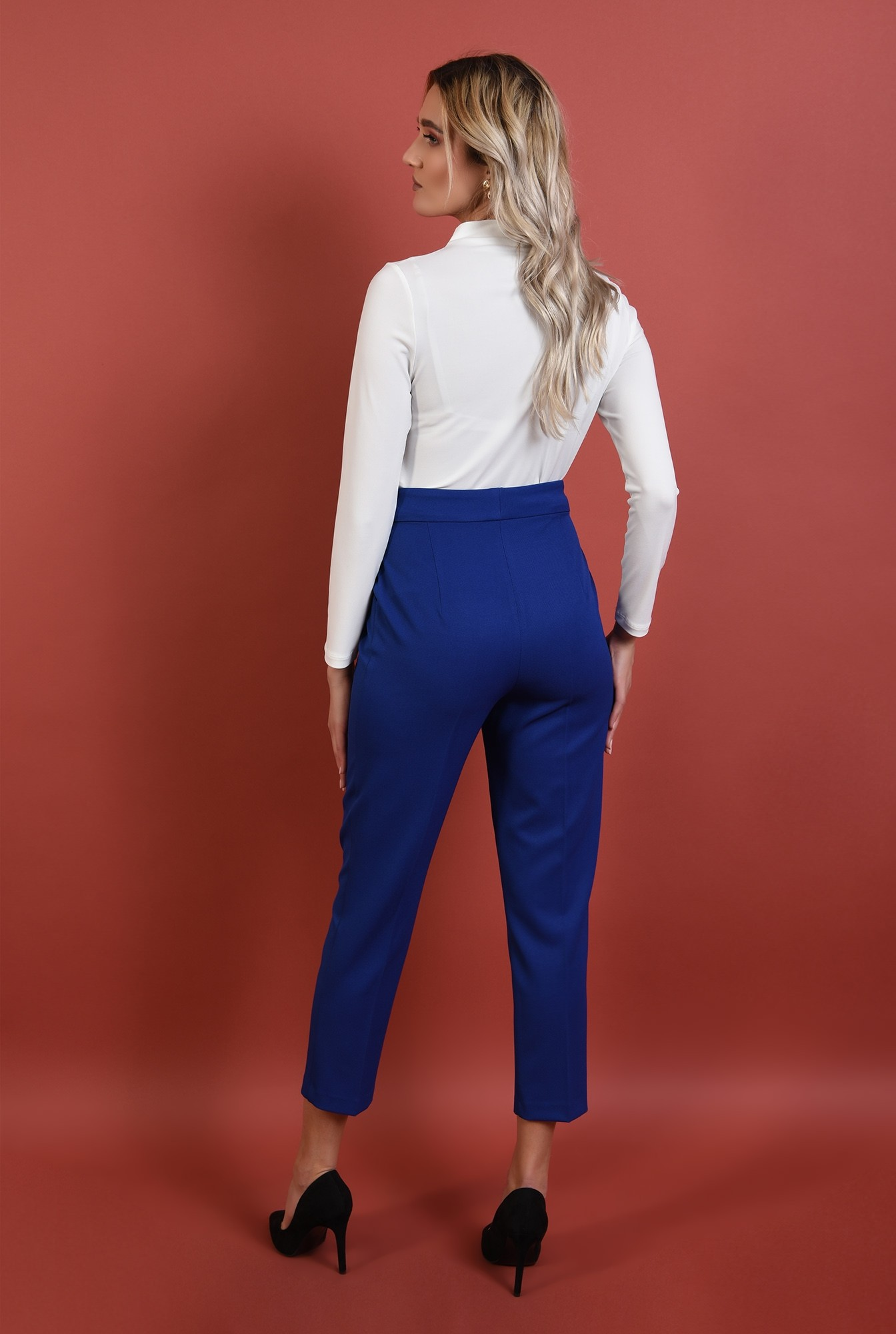1 - 360 - pantaloni conici, albastri, talie medie, croi la dunga