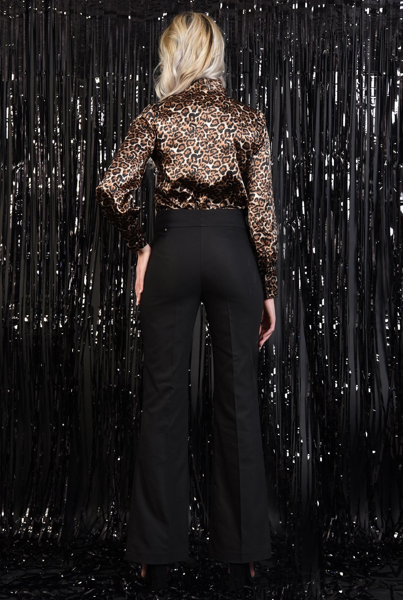 1 - 360 - pantaloni eleganti, negri, talie medie, cu nasturi, croi drept