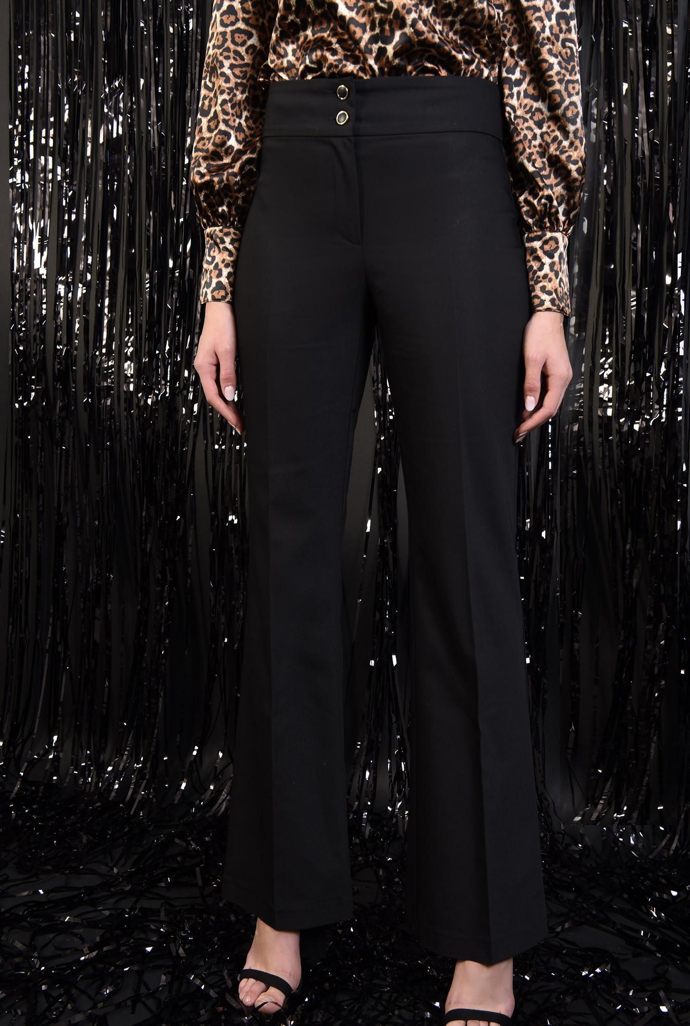 2 - 360 - pantaloni eleganti, negri, talie medie, cu nasturi, croi drept