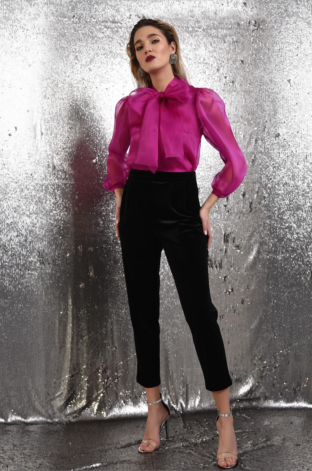 0 - 360 - pantaloni eleganti, din catifea, conici, cu talie inalta, cu betelie, Poema