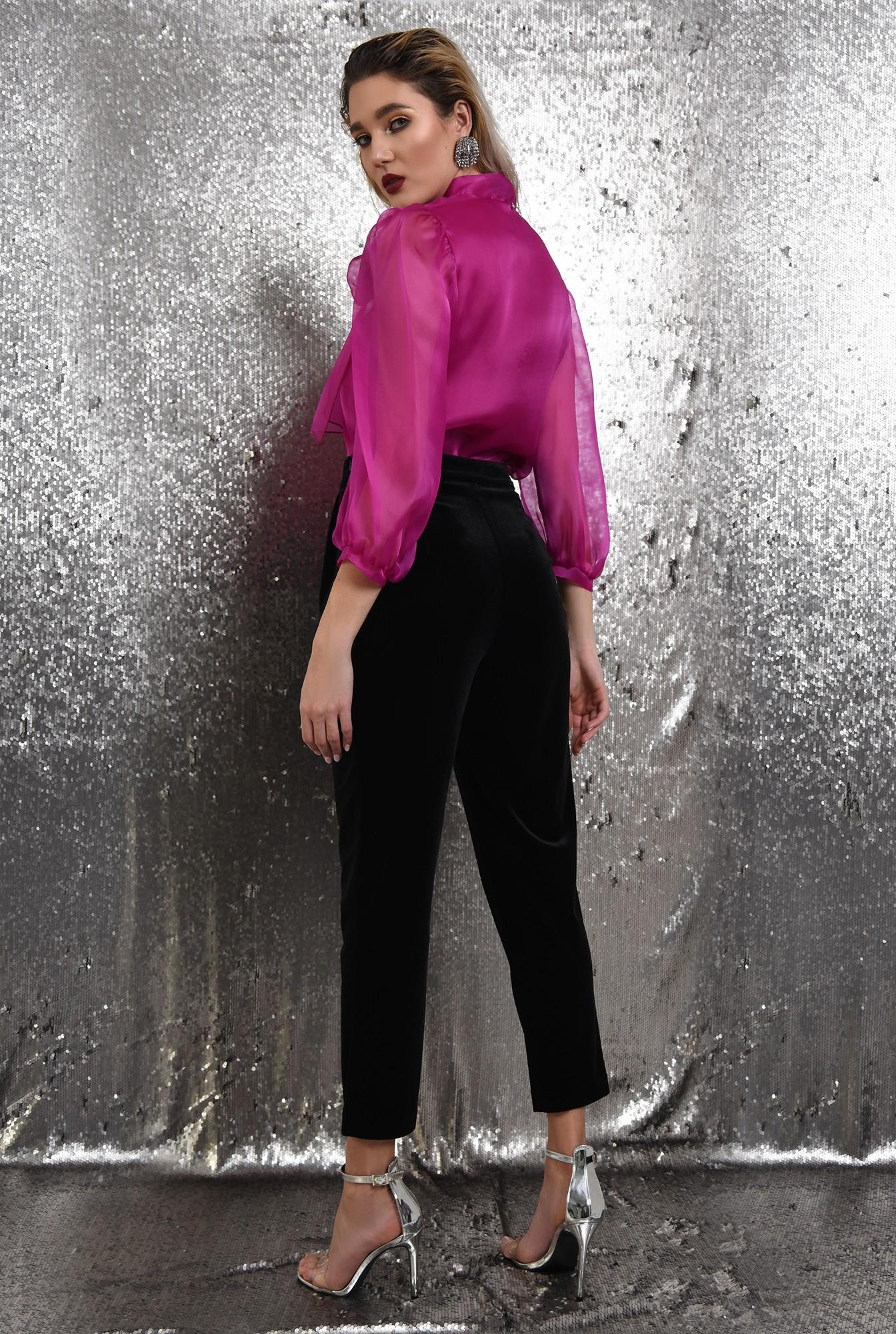 1 - 360 - pantaloni eleganti, din catifea, conici, cu talie inalta, cu betelie, Poema