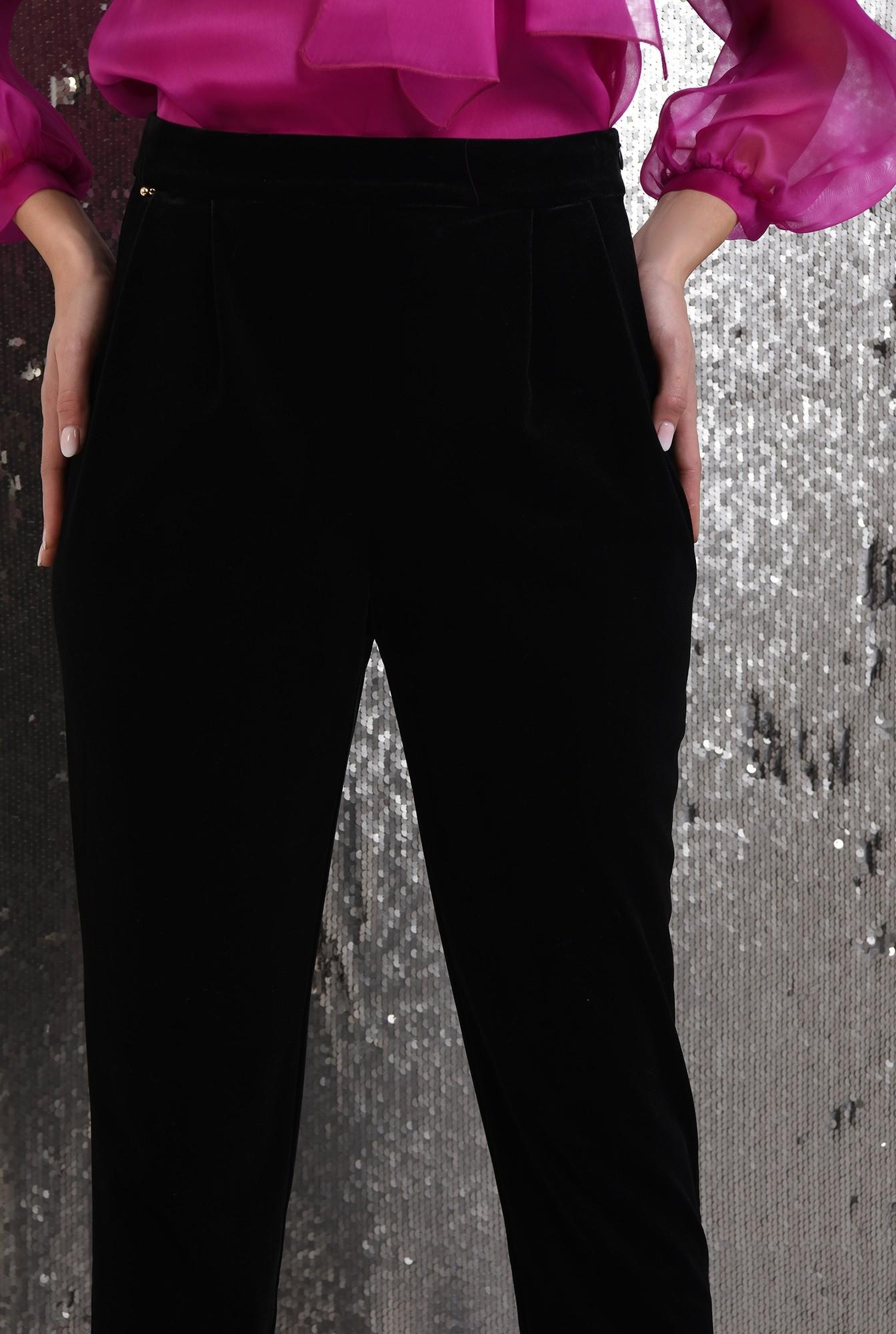 2 - 360 - pantaloni eleganti, din catifea, conici, cu talie inalta, cu betelie, Poema