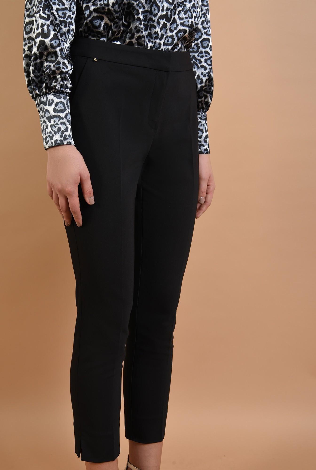 2 - pantaloni eleganti, negri, talie medie, croi conic, cu fente