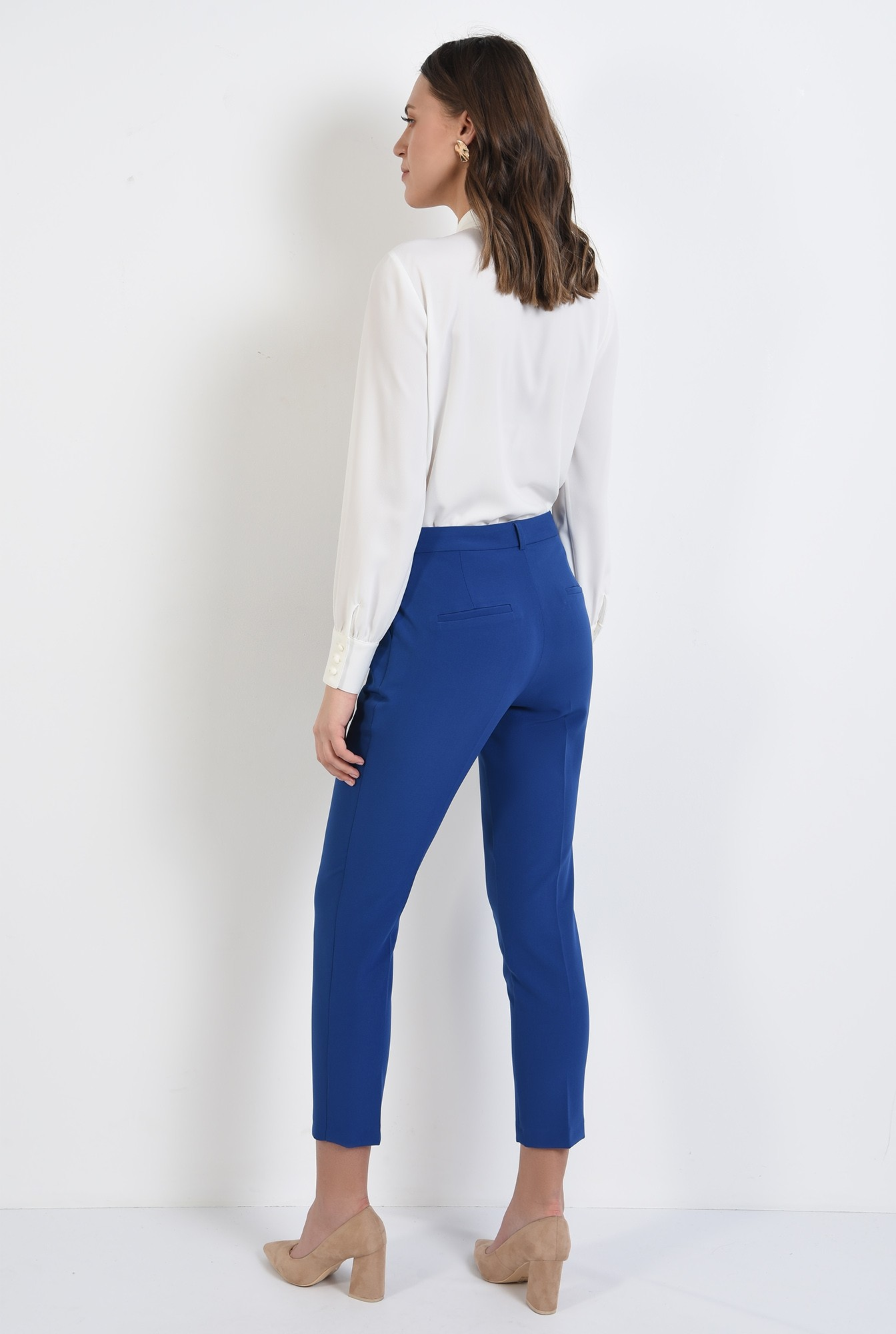 1 - pantaloni casual, conici, croi la dunga, talie medie, Poema