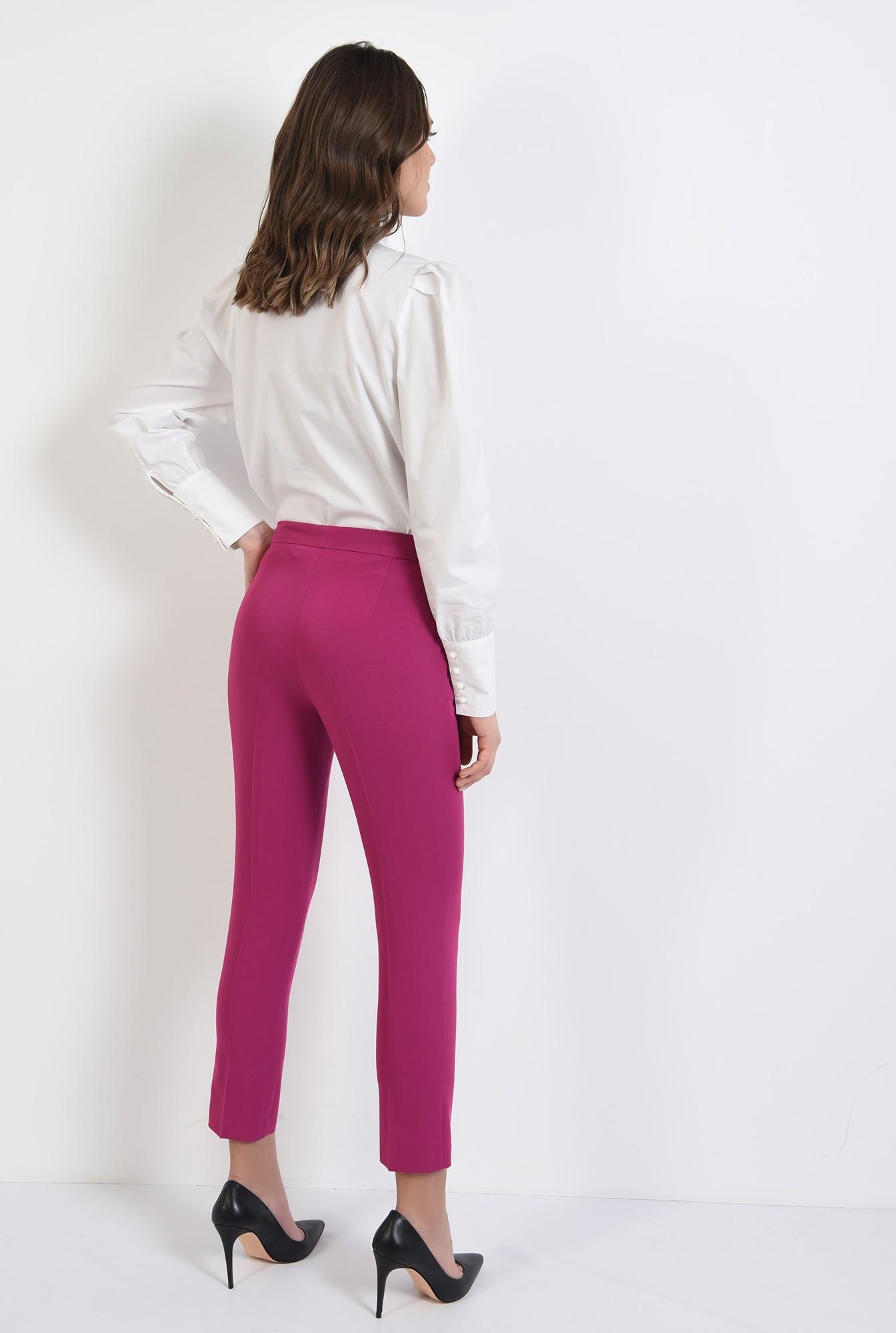 1 - pantaloni conici, croi tigareta, buzunare, talie medie