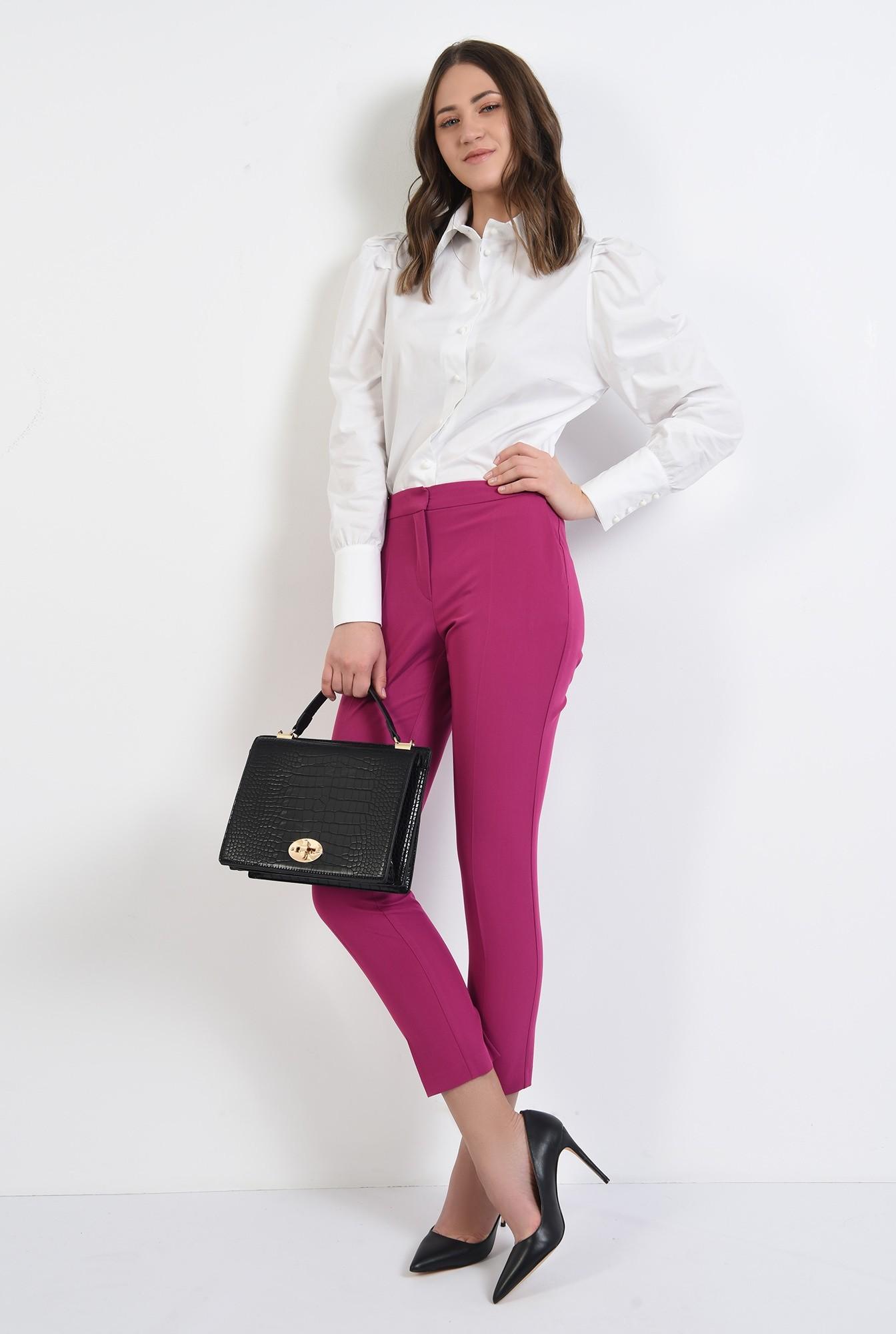 0 - pantaloni conici, croi tigareta, buzunare, talie medie