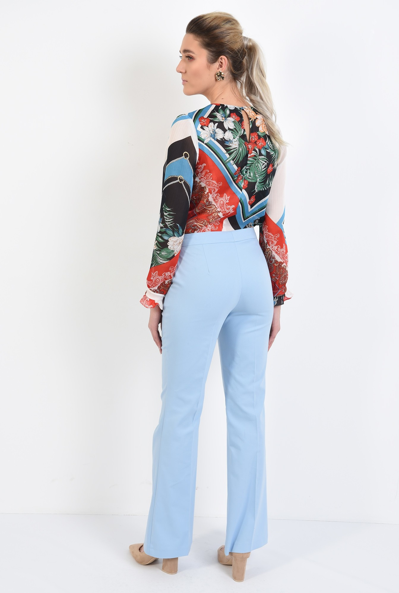 1 - pantaloni casual, din bumbac, drepti, cu buzunare