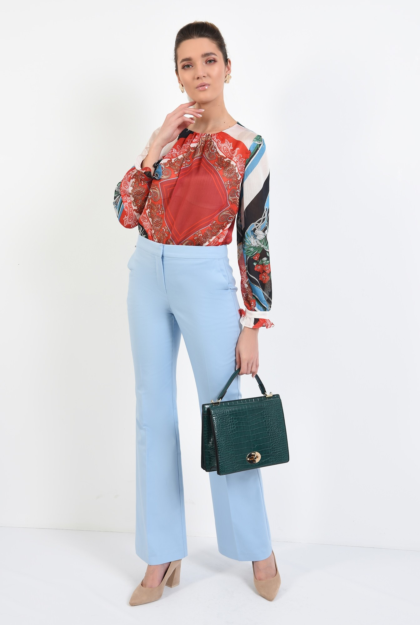 0 - pantaloni casual, din bumbac, drepti, cu buzunare