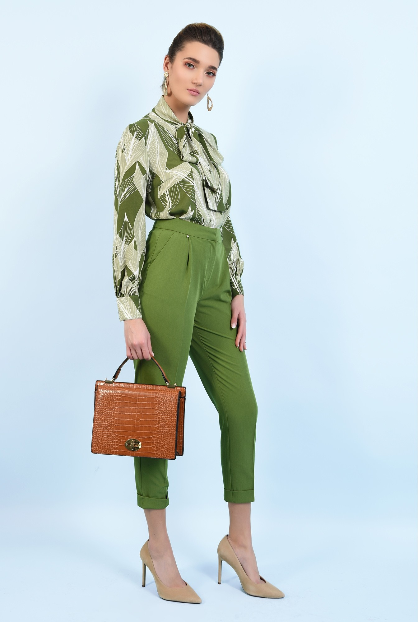3 - 360 - pantaloni conici, cu mansete, talie inalta, pantaloni de primavara