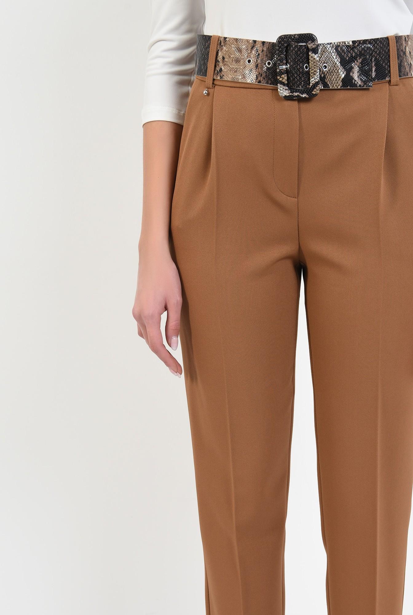 2 - pantaloni casual, cu pliuri, conici, curea sarpe