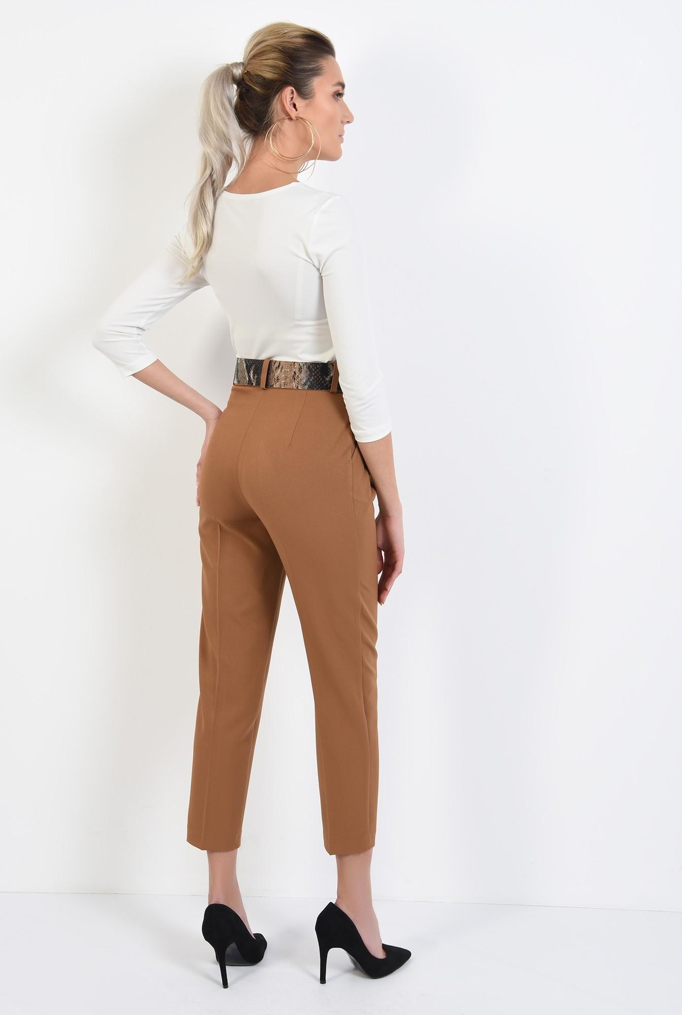 1 - pantaloni casual, cu pliuri, conici, curea sarpe