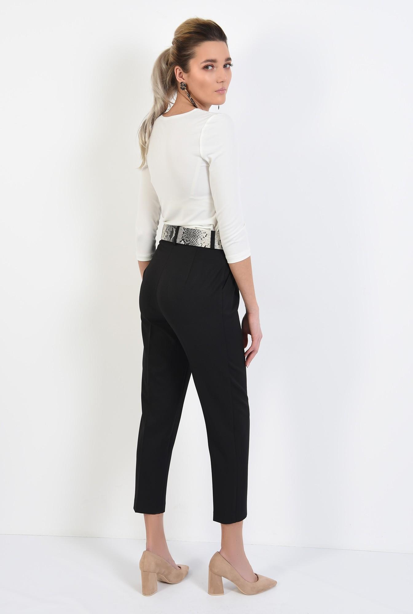 1 - pantaloni conici, negri, cu pliuri, cu centura sarpe, buzunare