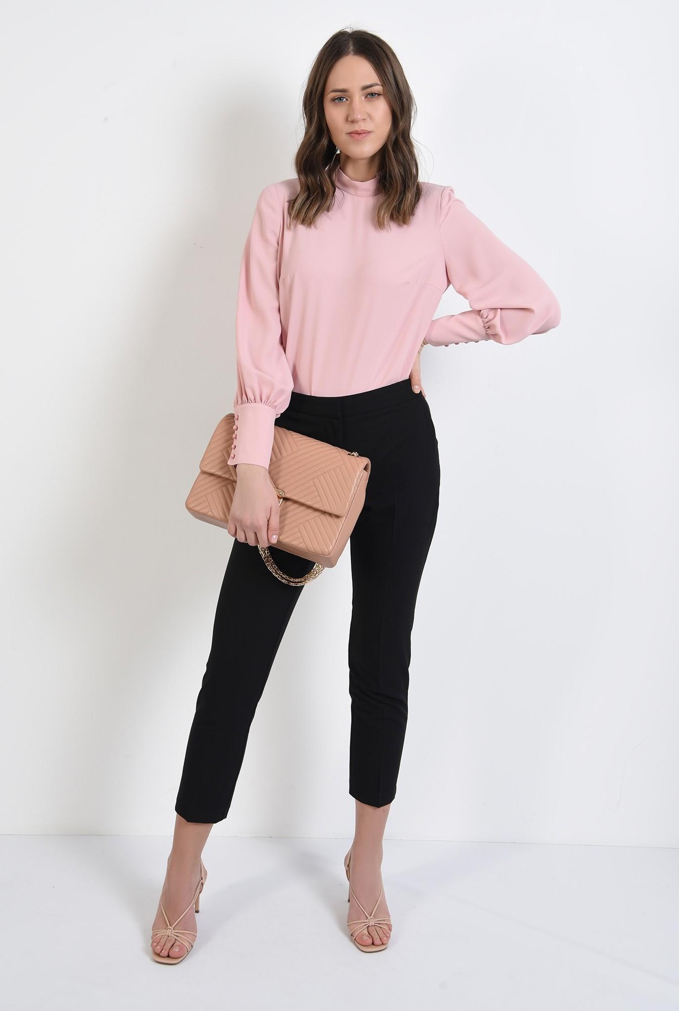 3 - pantaloni office, croi conic, la dunga, talie medie, cu buzunare, negru