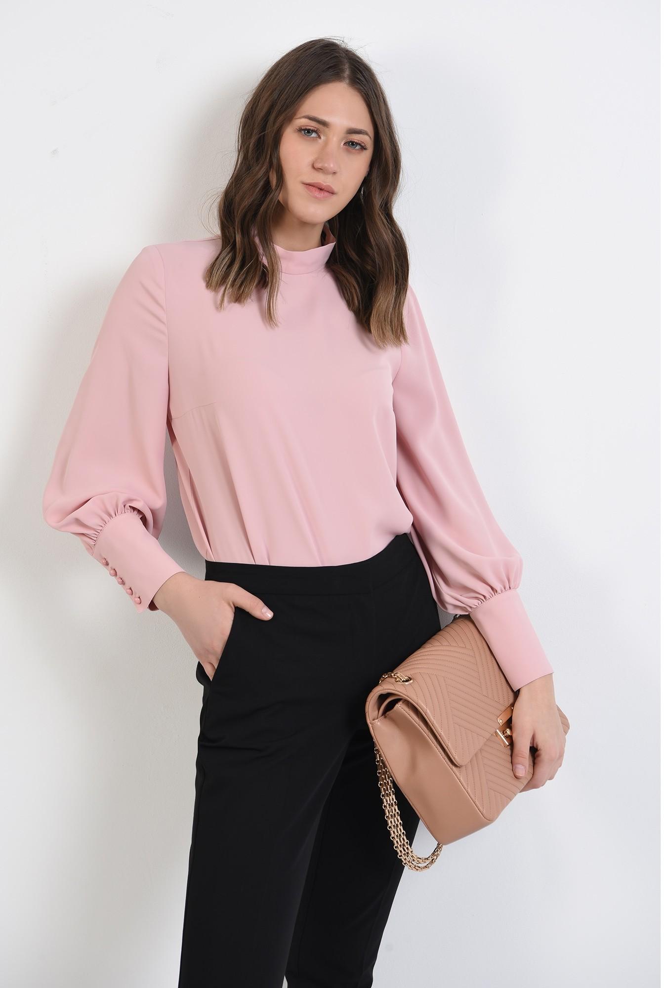 0 - pantaloni office, croi conic, la dunga, talie medie, cu buzunare, negru