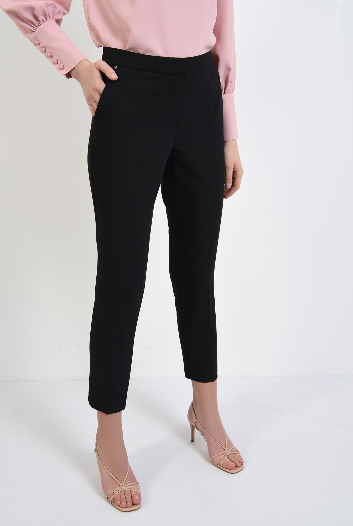 2 - pantaloni office, croi conic, la dunga, talie medie, cu buzunare, negru
