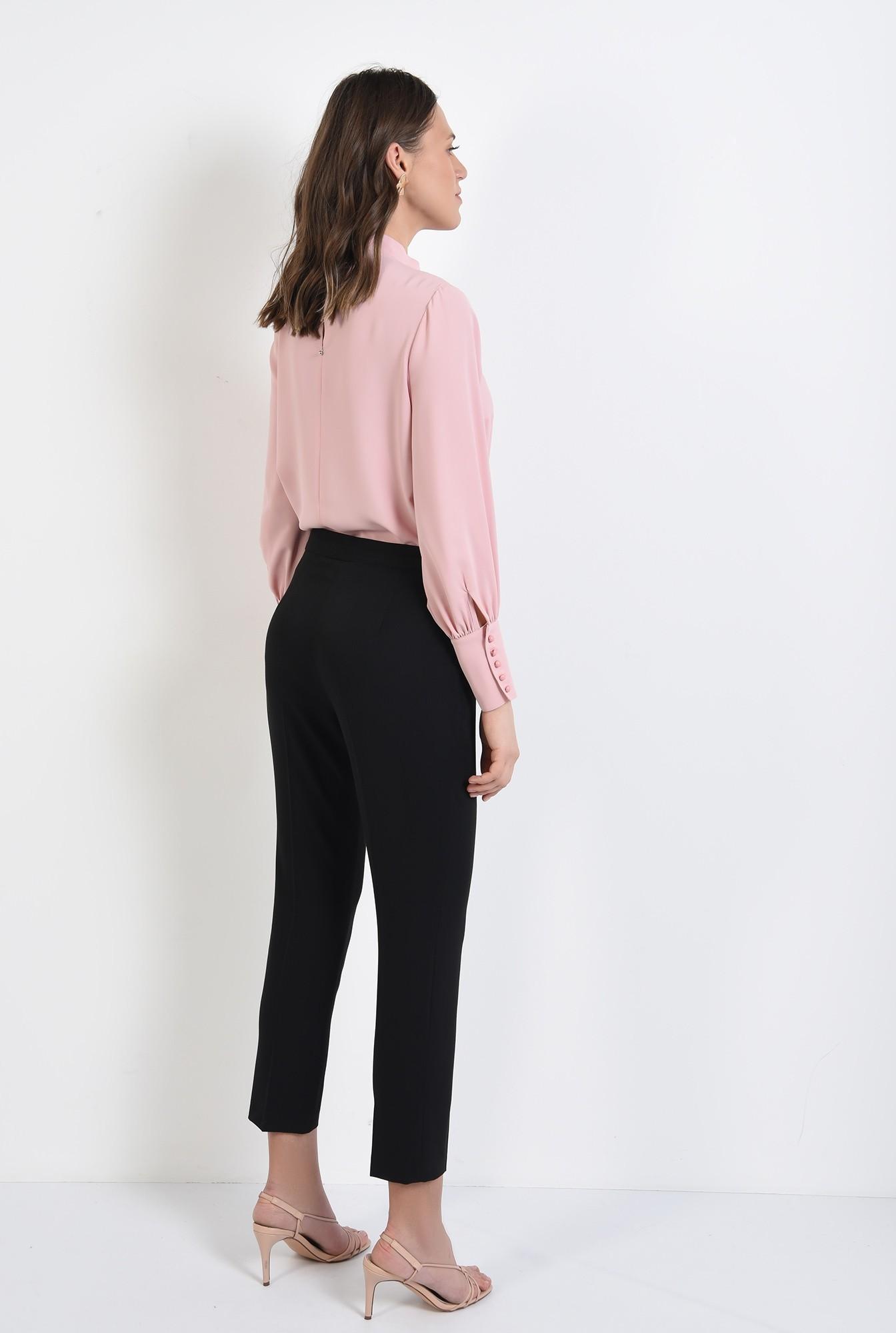 1 - pantaloni office, croi conic, la dunga, talie medie, cu buzunare, negru