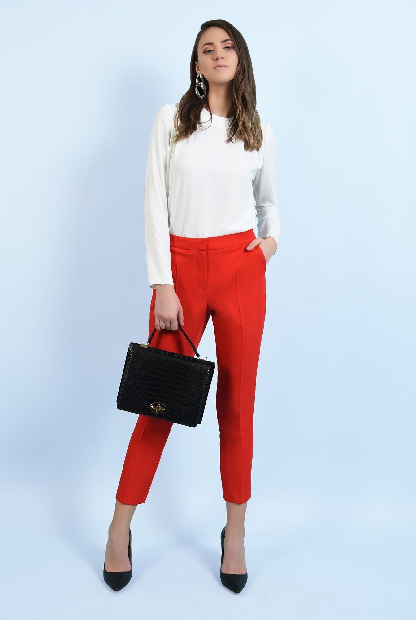 0 - pantaloni office, croi conic, la dunga, talie medie, cu buzunare, rosu