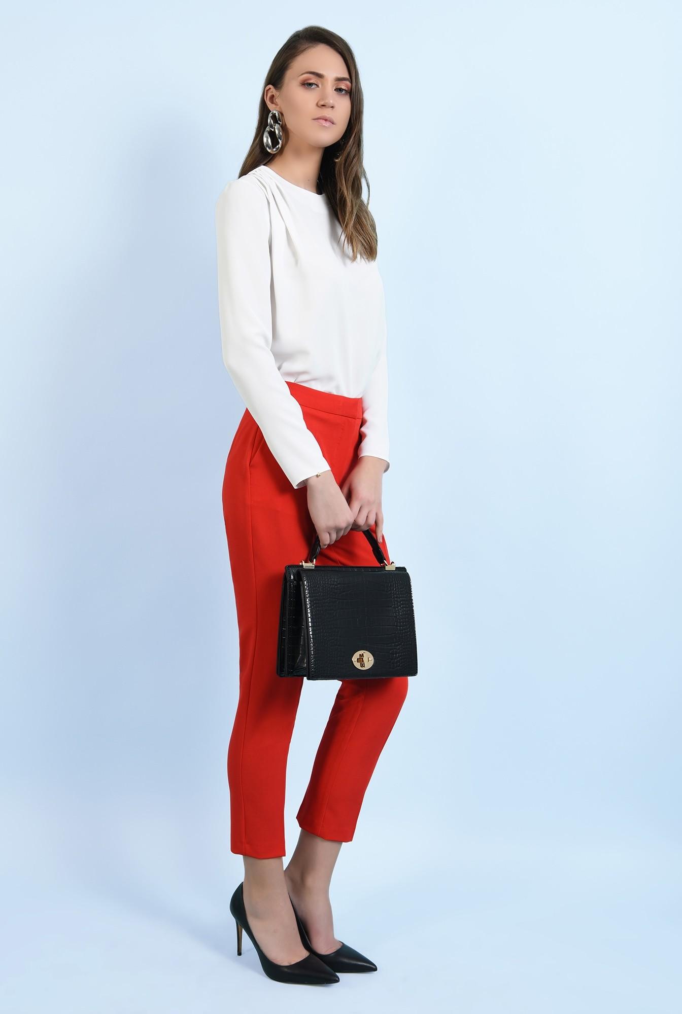 3 - pantaloni office, croi conic, la dunga, talie medie, cu buzunare, rosu