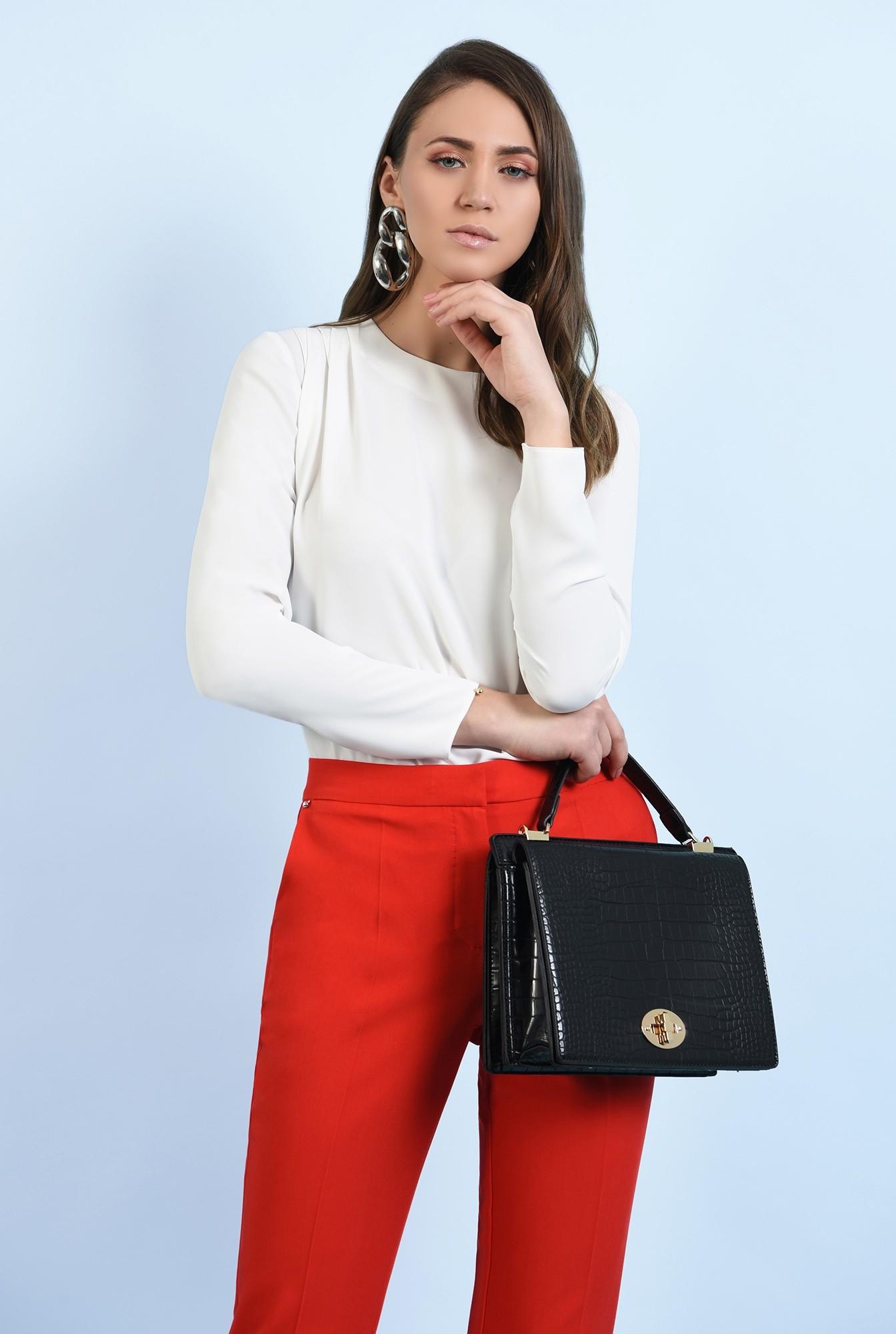 2 - pantaloni office, croi conic, la dunga, talie medie, cu buzunare, rosu