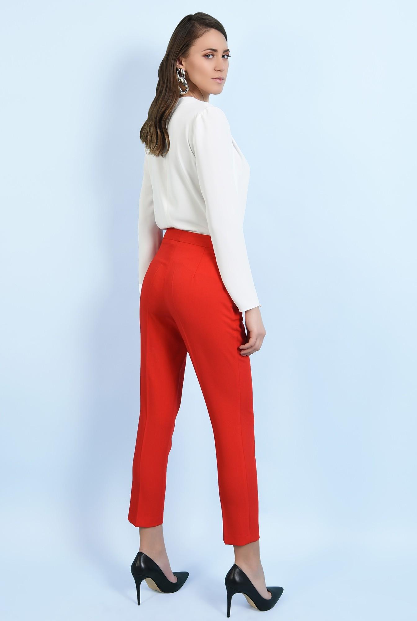 1 - pantaloni office, croi conic, la dunga, talie medie, cu buzunare, rosu