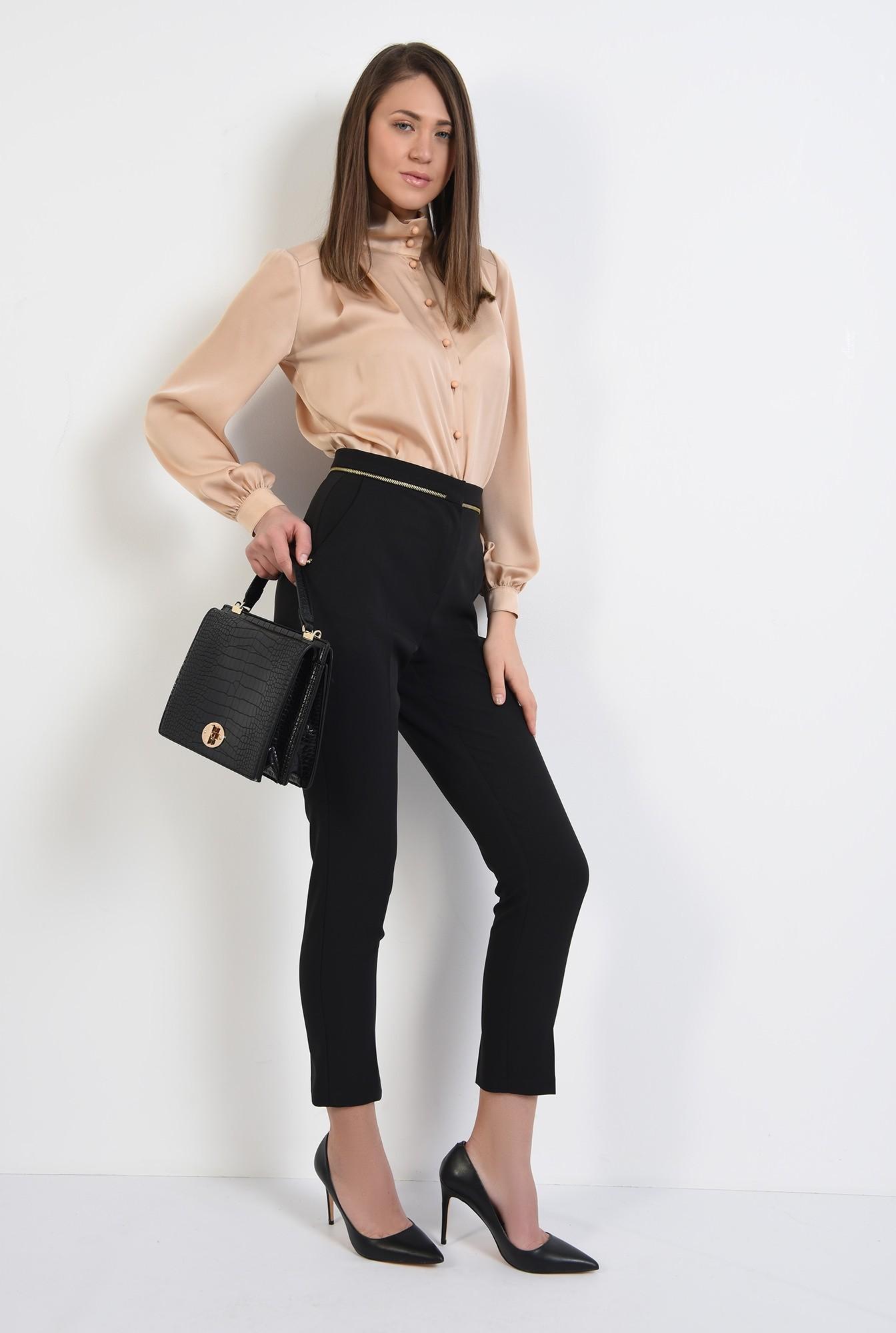 0 - pantaloni office, negri, talie medie, cu buzunare, pantaloni de primavara
